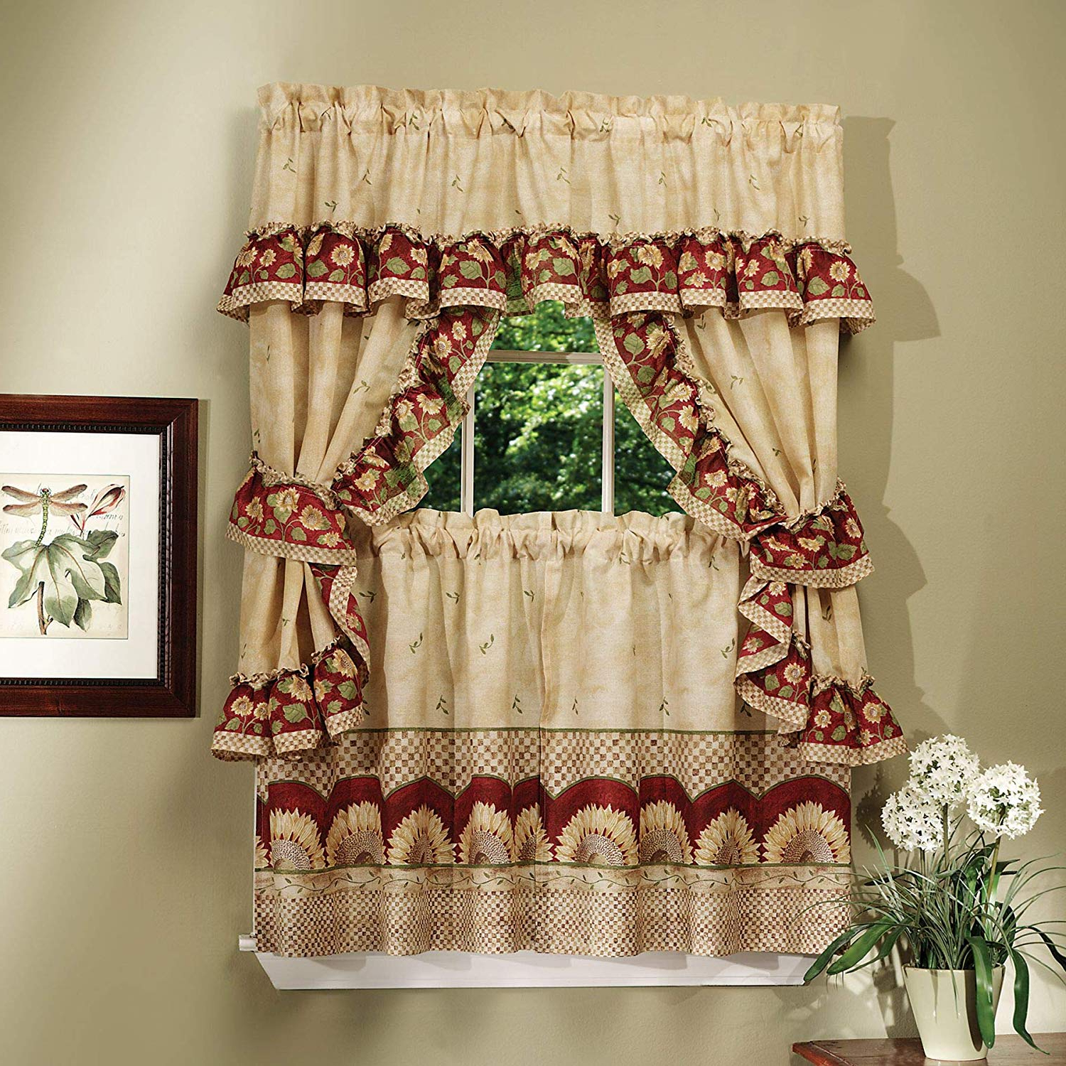 Best And Newest Window Treatment Sets Intended For Sunflower Cottage Kitchen Curtain Tier And Valance Sets (View 14 of 20)