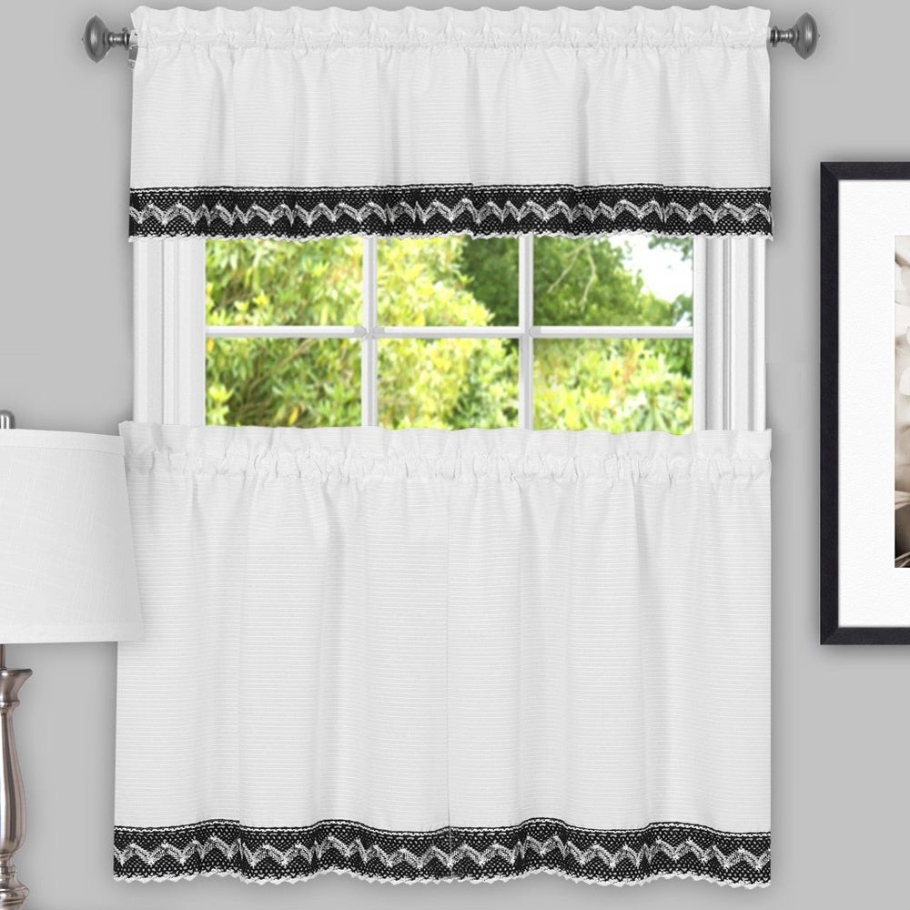 Black And White Macrame Trimmed Decorative Window Curtain Separates With Tier Pair And Valance Options With Well Liked Grandin Curtain Valances In Black (View 9 of 20)