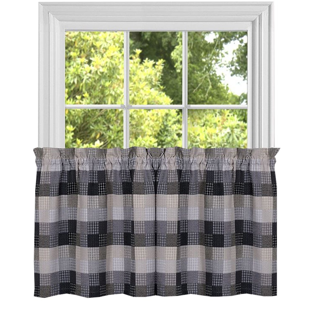 Black Cotton Blend Classic Checkered Decorative Window Curtain Separates Tier Pair Or Valance Regarding Best And Newest Burgundy Cotton Blend Classic Checkered Decorative Window Curtains (View 3 of 20)