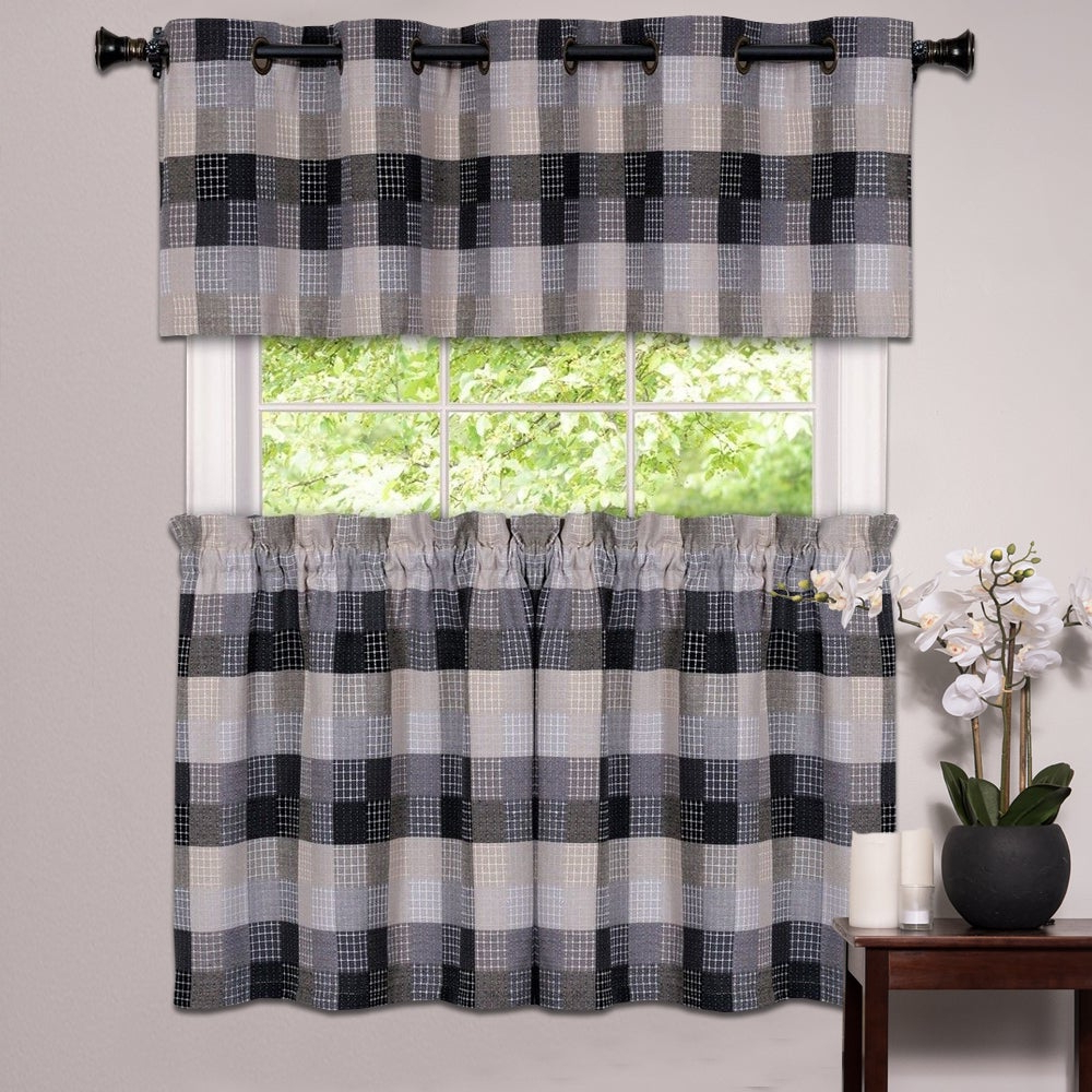 Black Cotton Blend Classic Checkered Decorative Window Curtain Separates Tier Pair Or Valance Regarding Most Recently Released Burgundy Cotton Blend Classic Checkered Decorative Window Curtains (View 4 of 20)