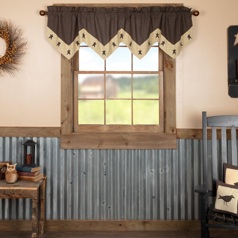 Black Primitive Kitchen Curtains Vhc Kettle Grove Star Valance Rod Pocket Cotton Appliqued For Latest Primitive Kitchen Curtains (View 6 of 20)