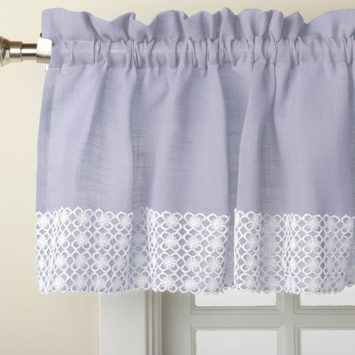 Blue Country Style Kitchen Curtains With White Daisy Lace Accent In Famous French Vanilla Country Style Curtain Parts With White Daisy Lace Accent (View 7 of 20)