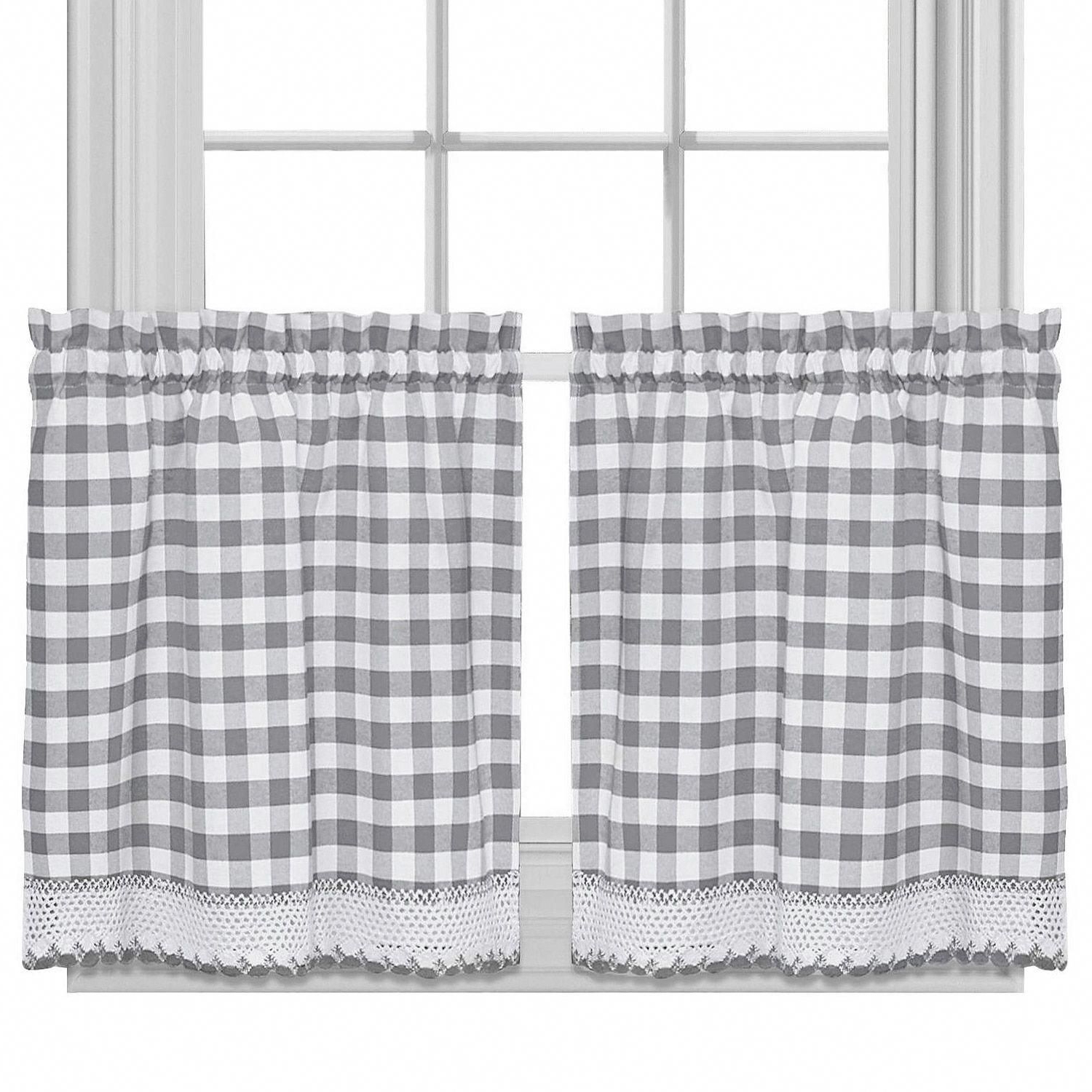 Featured Photo of Cotton Blend Grey Kitchen Curtain Tiers