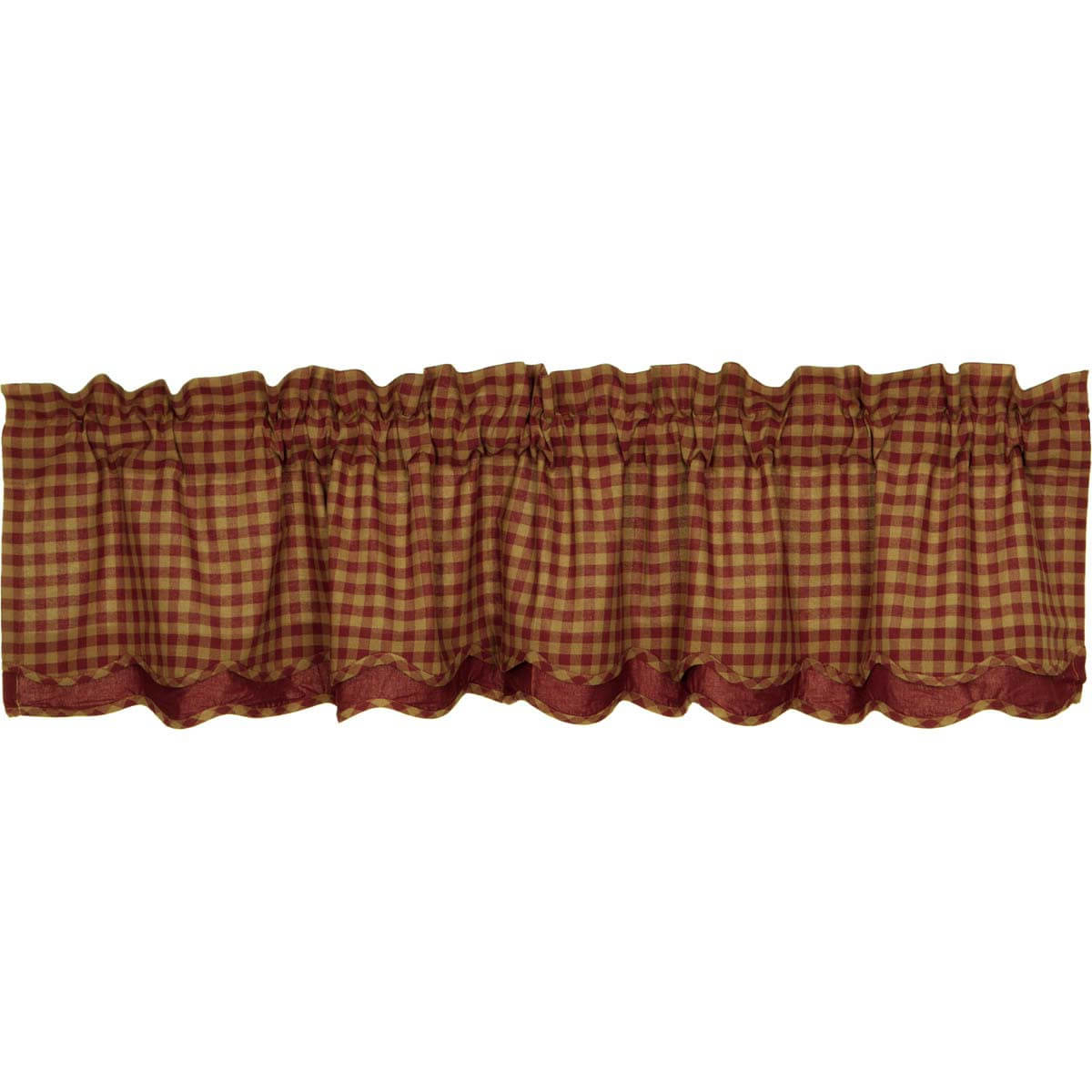 Burgundy Check Scalloped Layered Valance 16x72 In Famous Check Scalloped Swag Sets (View 13 of 20)