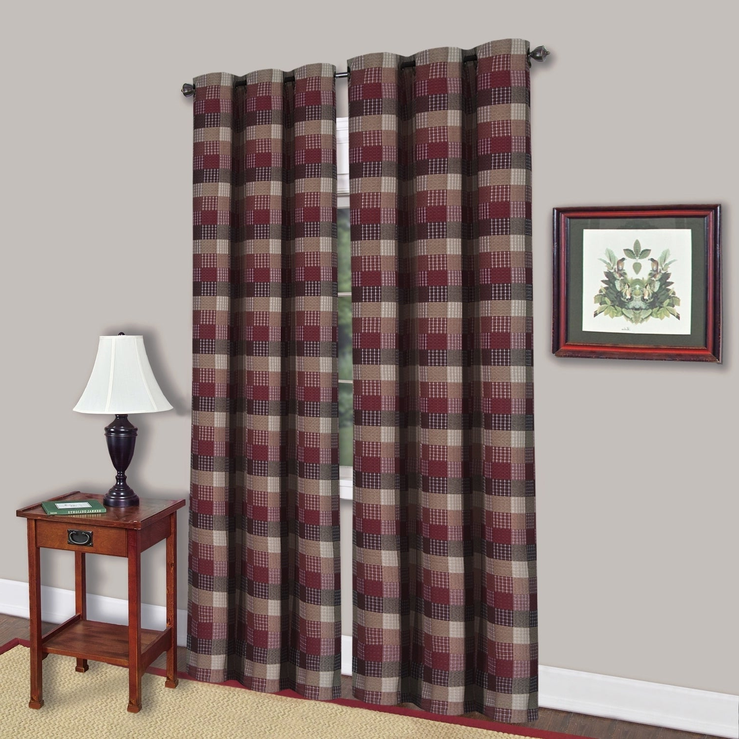 """Burgundy Cotton Blend 42 Inch X 84 Inch Classic Checkered Decorative Window Panel – 84""""x42"""" With Current Burgundy Cotton Blend Classic Checkered Decorative Window Curtains (View 7 of 20)"""