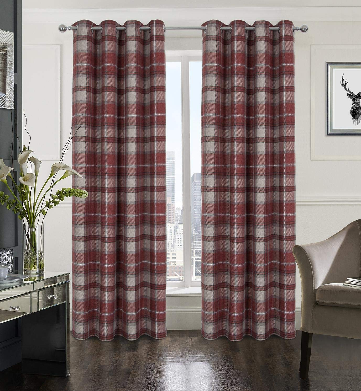 Burgundy Cotton Blend Classic Checkered Decorative Window Curtains In Most Recent Alexandra Cole Plaid Tartan Check Modern Classic Window Treatment Curtain/drapes For Living Room 2 Panels Red 54x84 Inch (View 19 of 20)