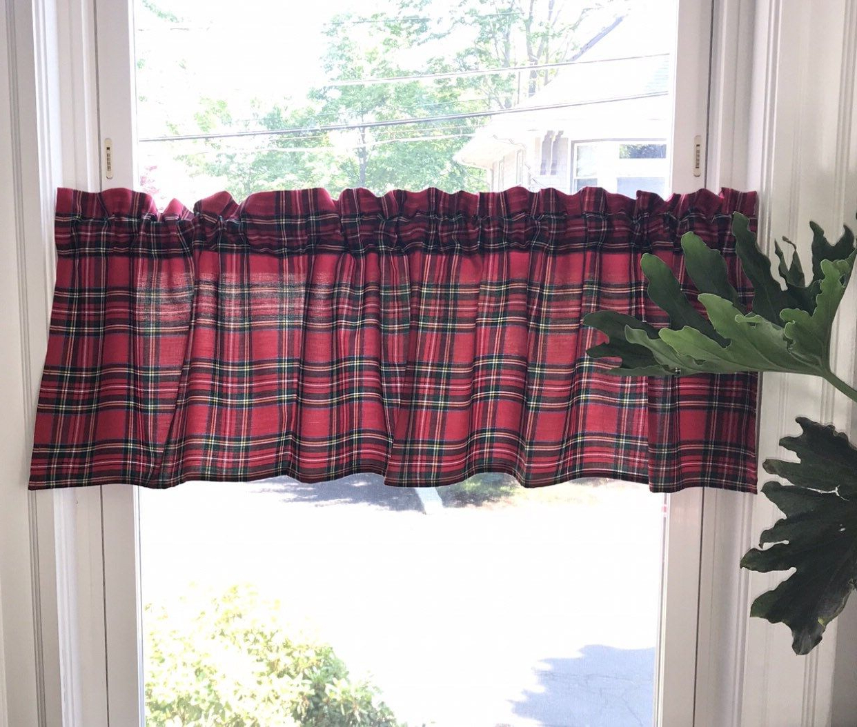 Burgundy Cotton Blend Classic Checkered Decorative Window Curtains Intended For Recent Christmas Royal Stewart Tartan Valance, Red Green Plaid (View 10 of 20)