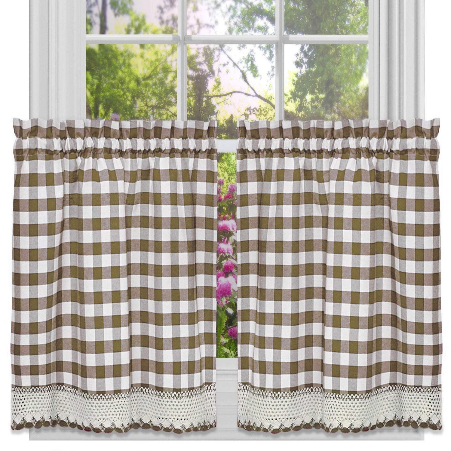 Burgundy Cotton Blend Classic Checkered Decorative Window Curtains Intended For Widely Used Amazon: Bed Bath N More Classic Buffalo Check Kitchen (View 6 of 20)