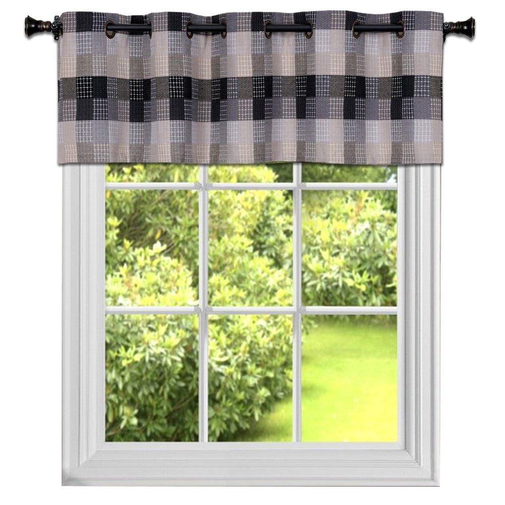 Burgundy Cotton Blend Classic Checkered Decorative Window Curtains Regarding 2021 Black Cotton Blend Classic Checkered Decorative Window Curtain Separates Tier Pair Or Valance (View 2 of 20)