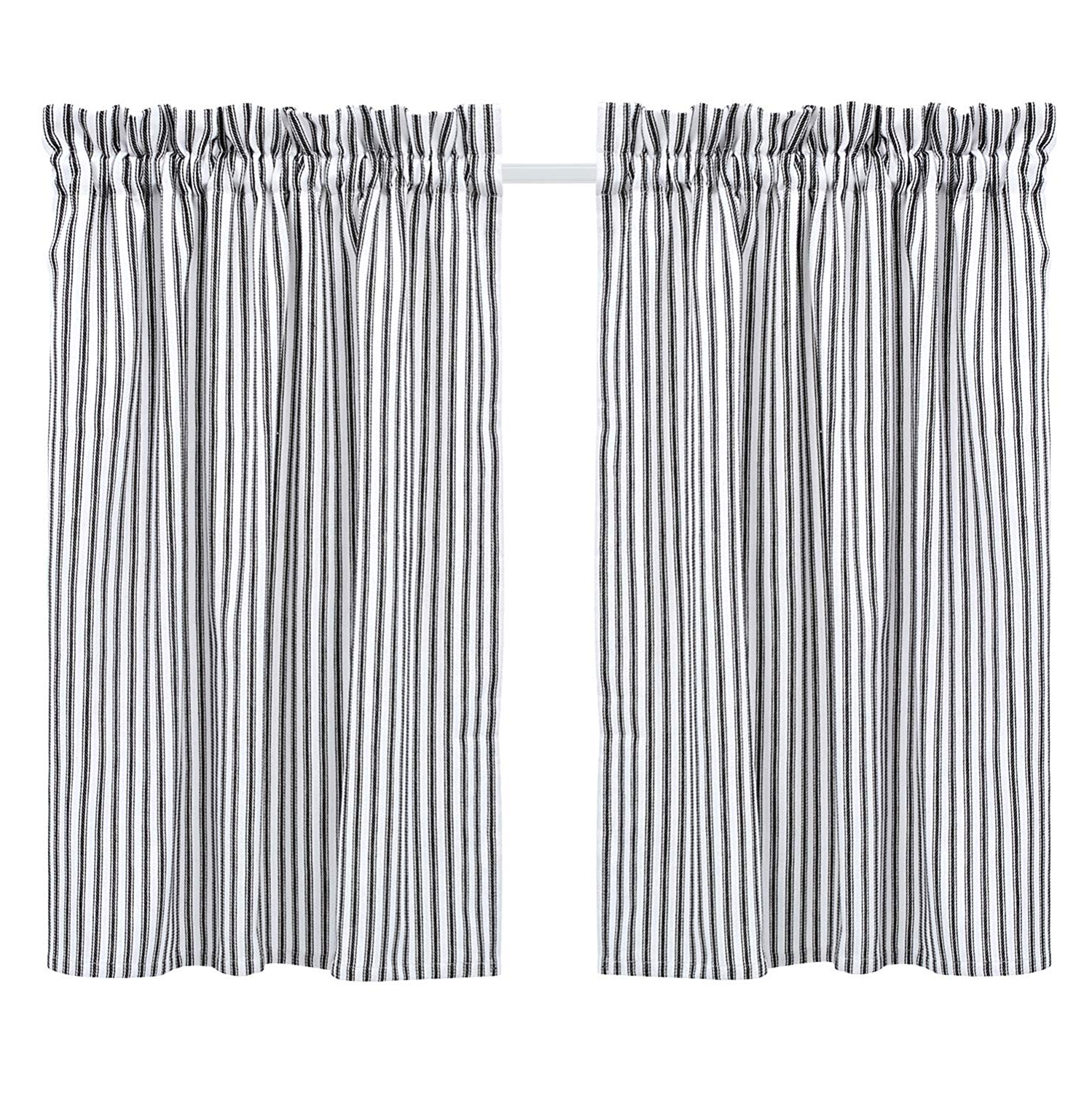 Cackleberry Home Black And White Ticking Stripe Cafe Curtains 28 Inches W X 24 Inches L Woven Cotton, Set Of 2 Within Well Known Classic Black And White Curtain Tiers (View 16 of 20)