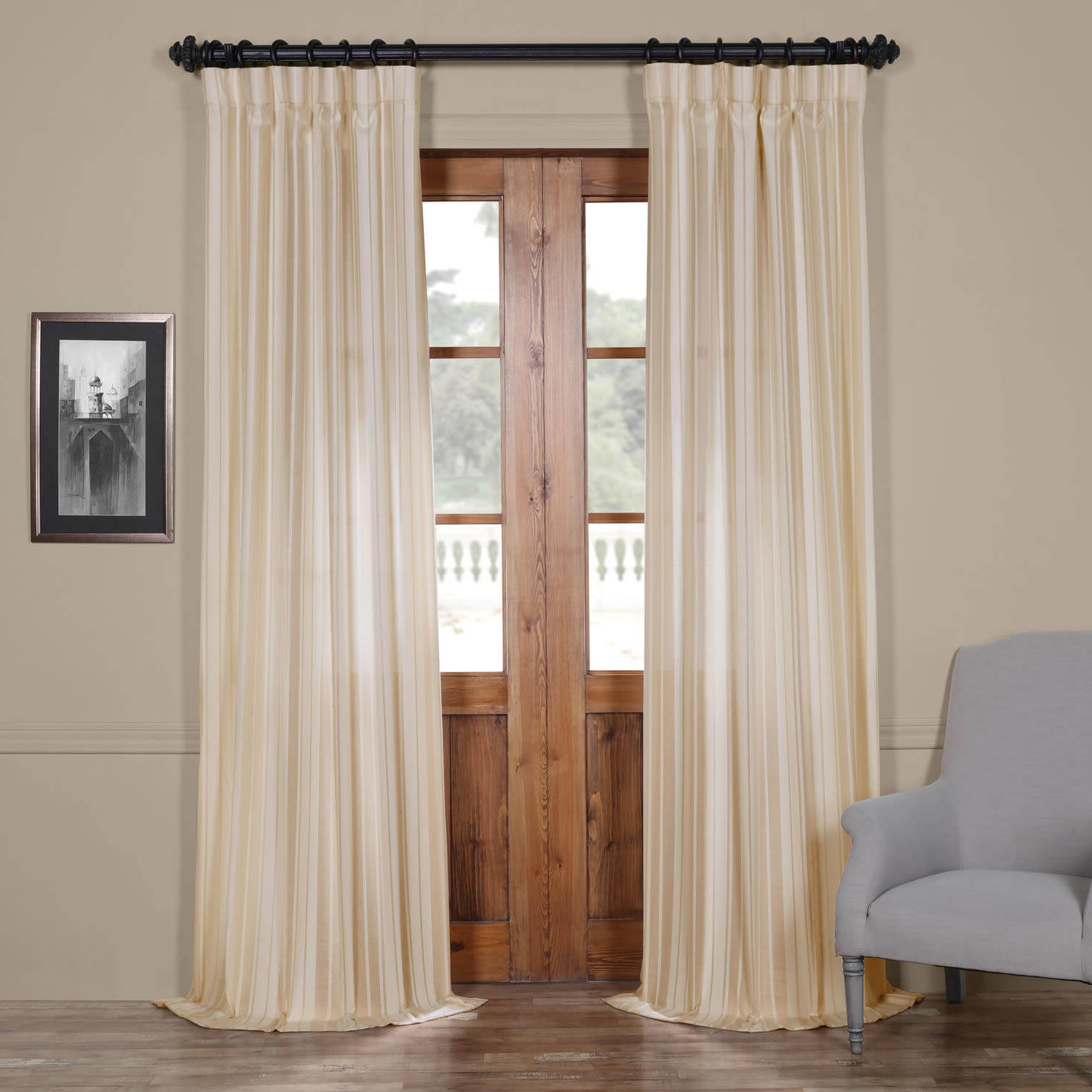 Cayman Natural Striped Linen Sheer Curtain Intended For Popular White Micro Striped Semi Sheer Window Curtain Pieces (View 18 of 20)