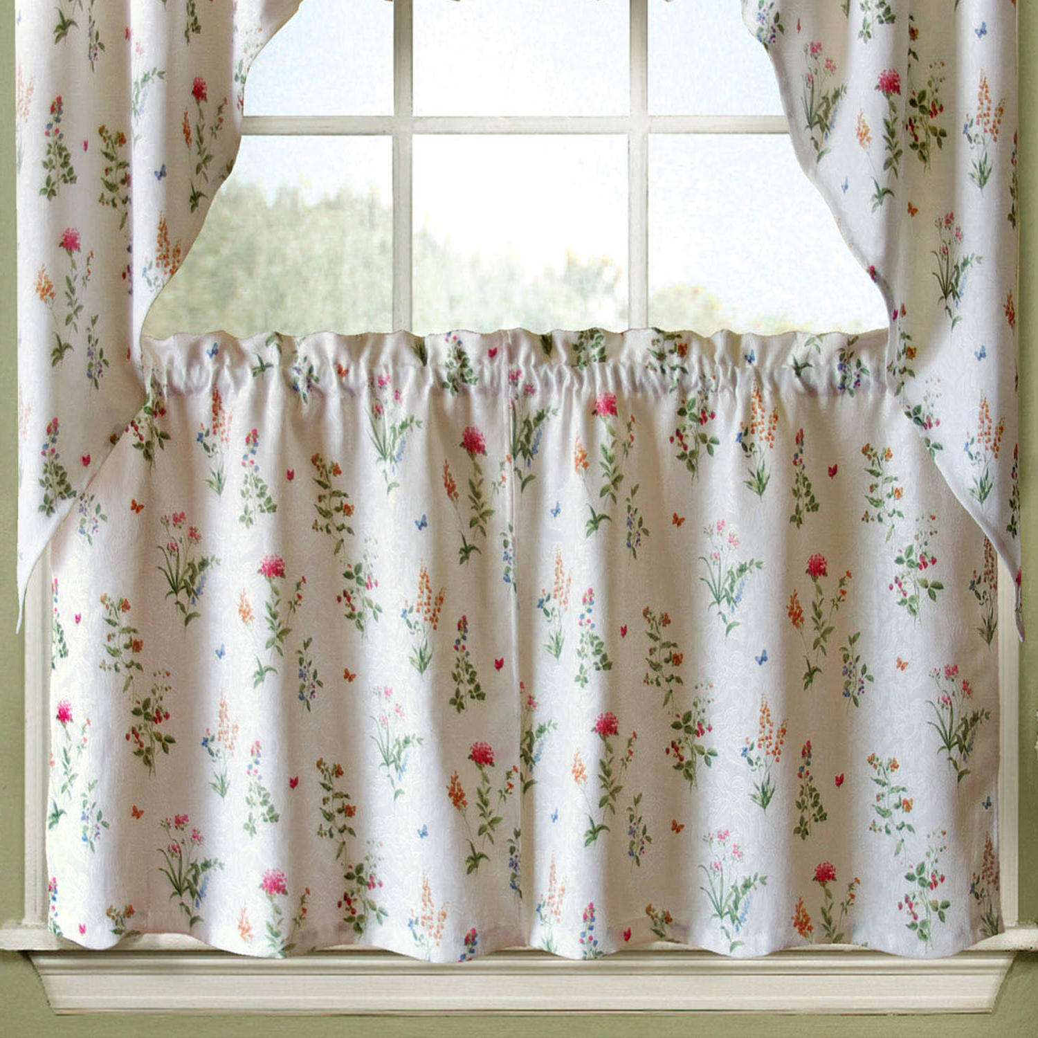Chardonnay Tier And Swag Kitchen Curtain Sets For Latest English Garden Floral White Jacquard Kitchen Curtains Tier, Valance Or Swag (View 8 of 20)