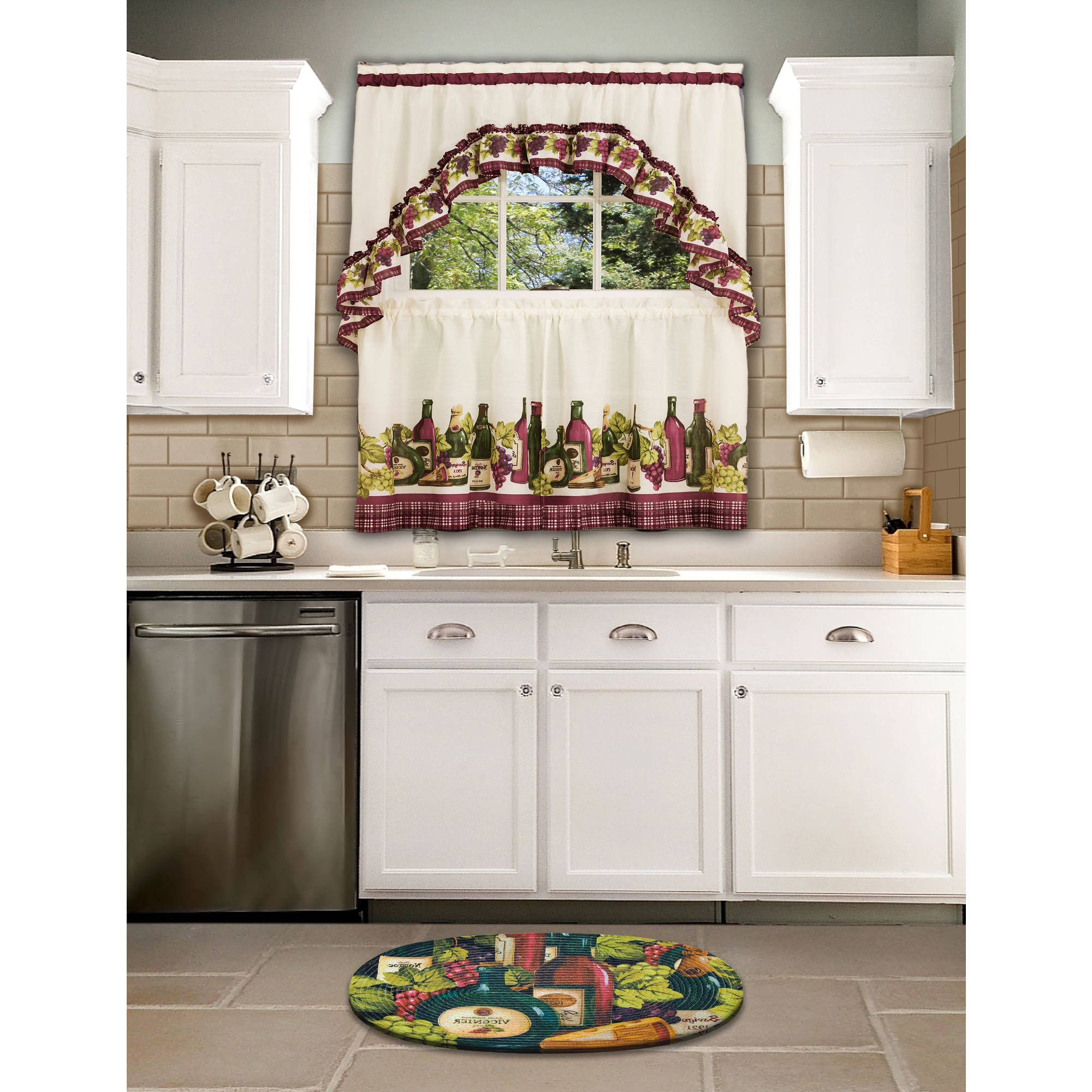 Chardonnay Tier And Swag Kitchen Curtain Sets Throughout Well Known Chardonnay Kitchen Curtain & Swag Set, 1 Each (View 6 of 20)