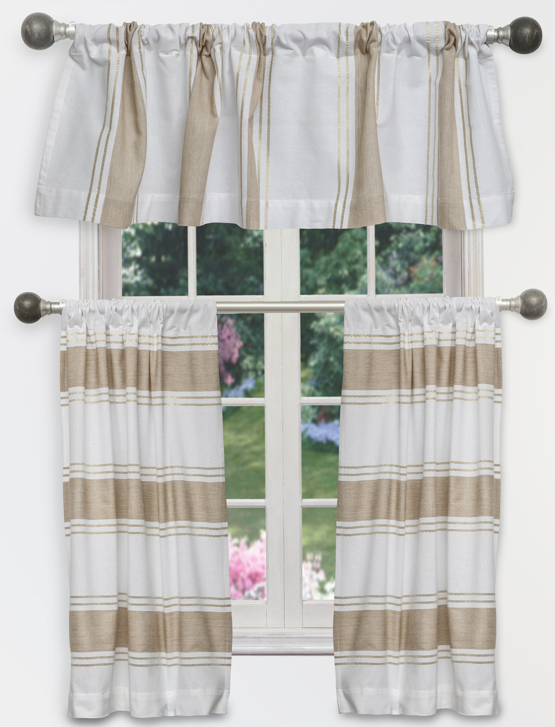 Charlton Home Raci Tier 3 Piece Curtain Set (View 1 of 20)