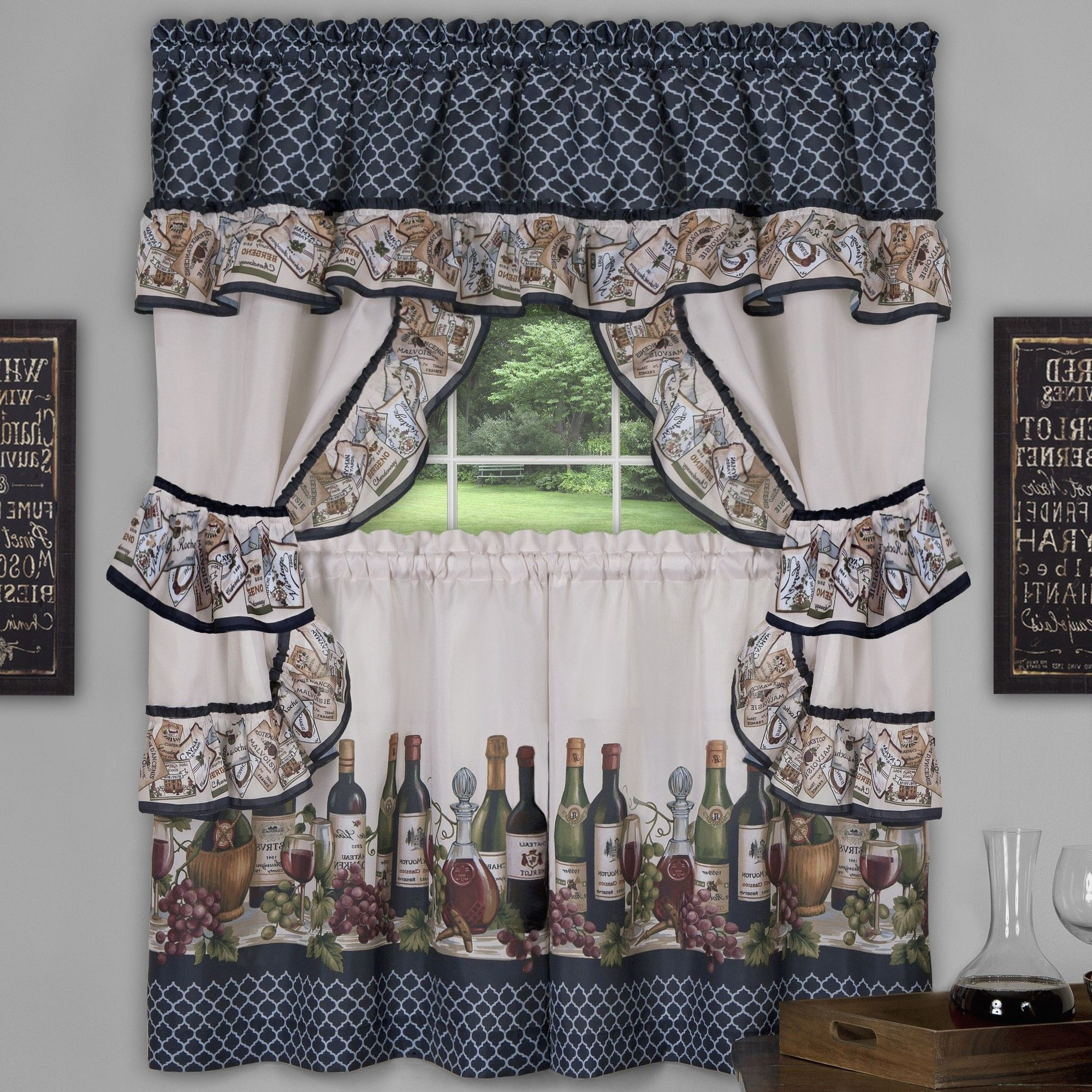 """Chateau Wines Cottage Kitchen Curtain Tier And Valance Sets Inside 2021 Chateau 57"""" Valance And Tier Set (View 3 of 20)"""