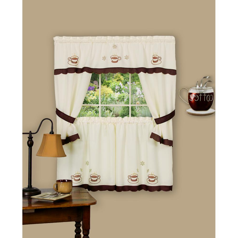 Chateau Wines Cottage Kitchen Curtain Tier And Valance Sets With Regard To Current Achim Sheer Cuppa Joe 36 In (View 17 of 20)