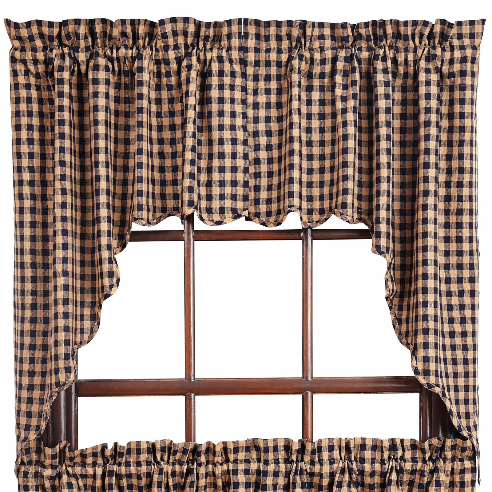 Check Scalloped Swag Sets Regarding 2020 Check Scalloped Country Curtain Swagsvhc Brands Navy Or Burgundy (View 11 of 20)