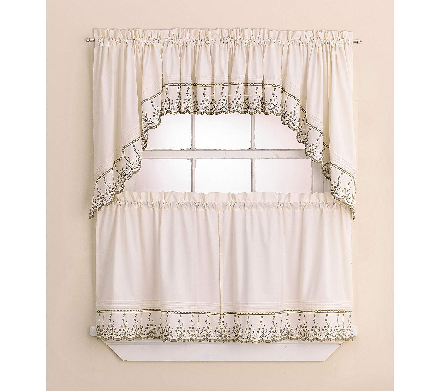 Chf Abby – 60 X 24 Tier Pair – Wedgewood In Popular Abby Embroidered 5 Piece Curtain Tier And Swag Sets (View 10 of 20)