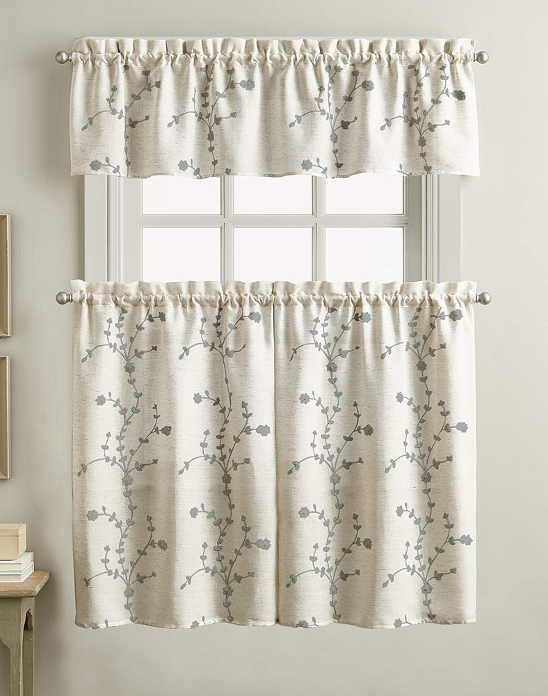 Chf Lynette Floral Embroidered Window Kitchen Curtain Valance, Rod Pocket,  56W X 14L Inch, Grey For Most Recent Scroll Leaf 3 Piece Curtain Tier And Valance Sets (View 2 of 20)