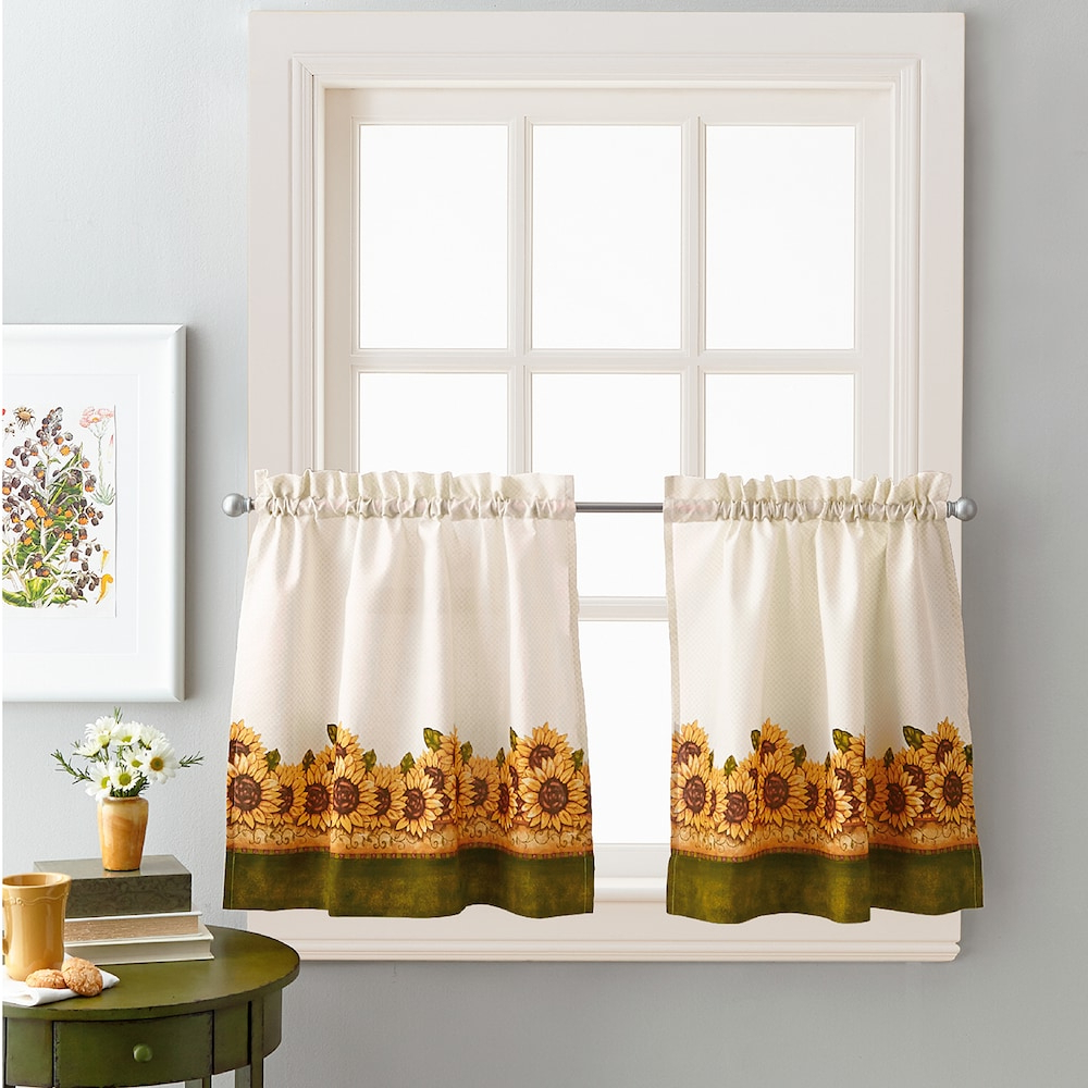 Chf Sunflower Garden Kitchen Tier Set, 23x64 In 2019 Intended For Well Known Grace Cinnabar 5 Piece Curtain Tier And Swag Sets (View 18 of 20)