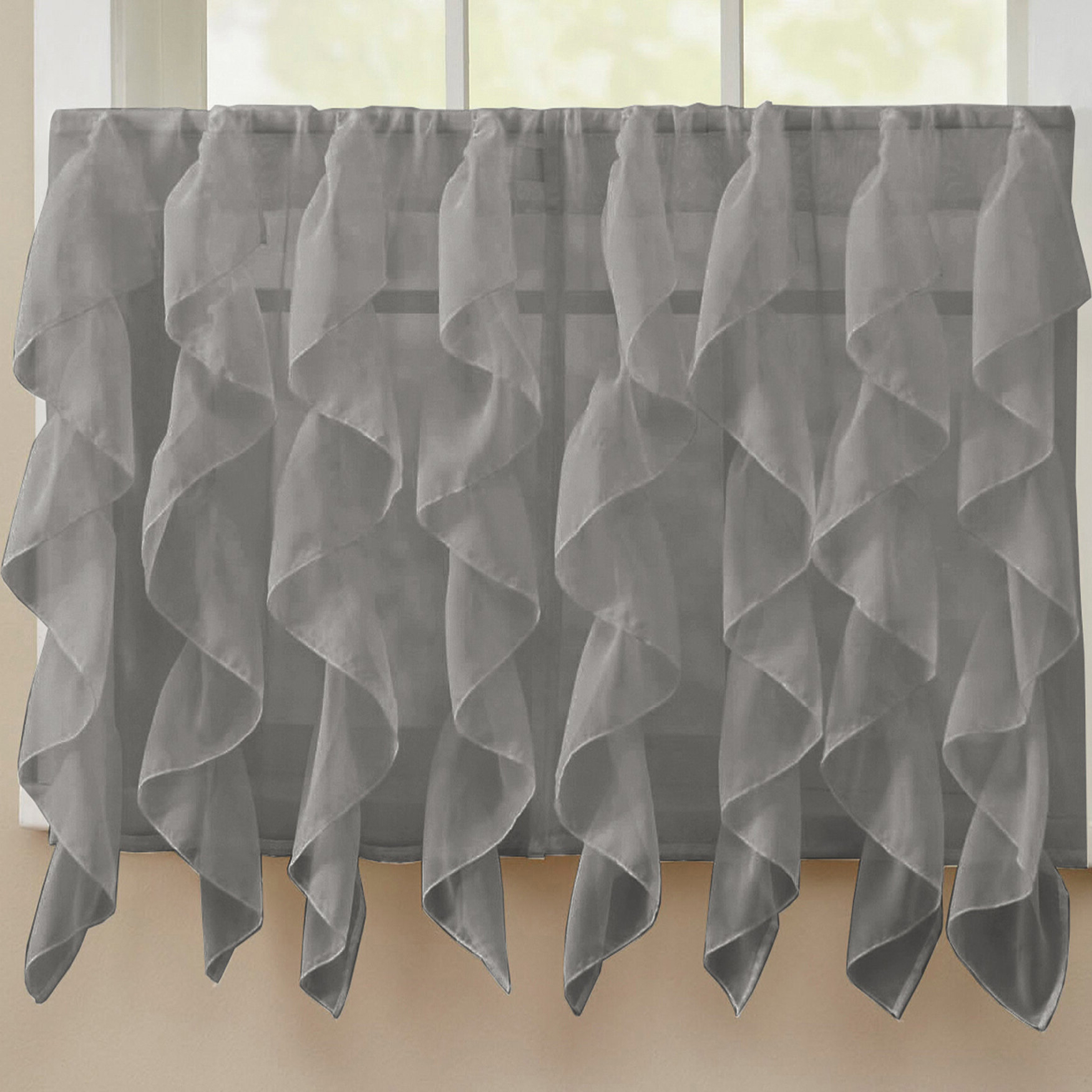 Chic Sheer Voile Vertical Ruffled Window Curtain Tiers Pertaining To Latest Fulgham Chic Sheer Voile Vertical Cafe Curtain (View 16 of 20)