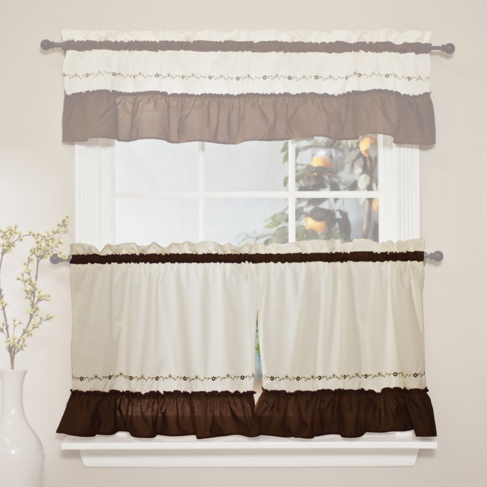 Chocolate 5 Piece Curtain Tier And Swag Sets For Current Chf Industries Jayden Tiered Kitchen Curtain – One Pair Color – Chocolate (View 6 of 20)