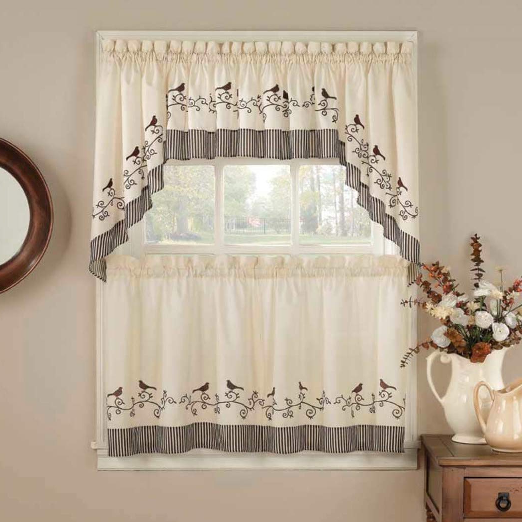 Chocolate 5 Piece Curtain Tier And Swag Sets In Most Current Amazon: 5 Piece 24 Inch Chocolate Color Curtain Tier (View 7 of 20)