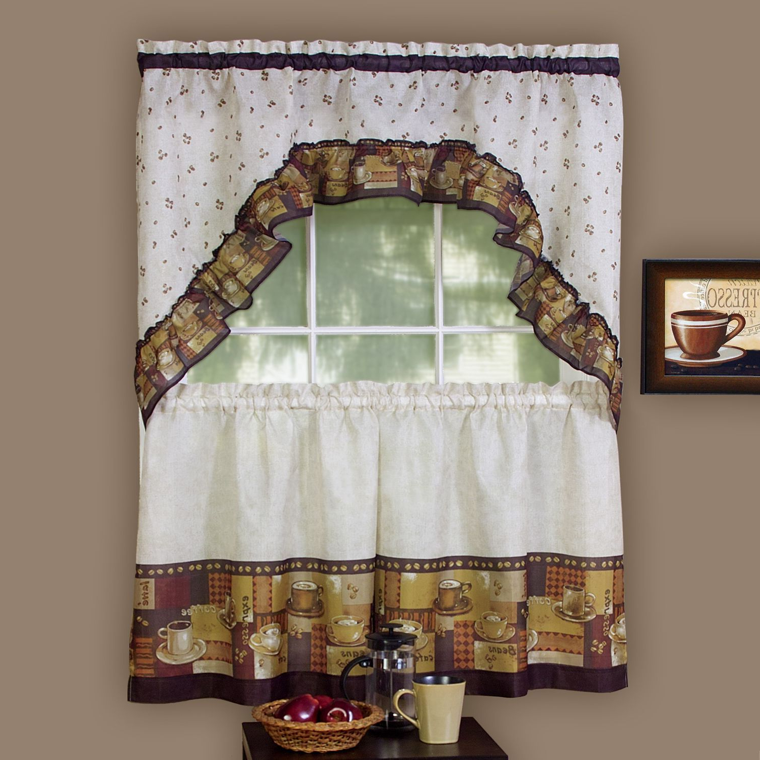 Chocolate 5 Piece Curtain Tier And Swag Sets With Preferred Achim Achim Multicolor Coffee (Brown) Printed Tier And Swag (View 9 of 20)