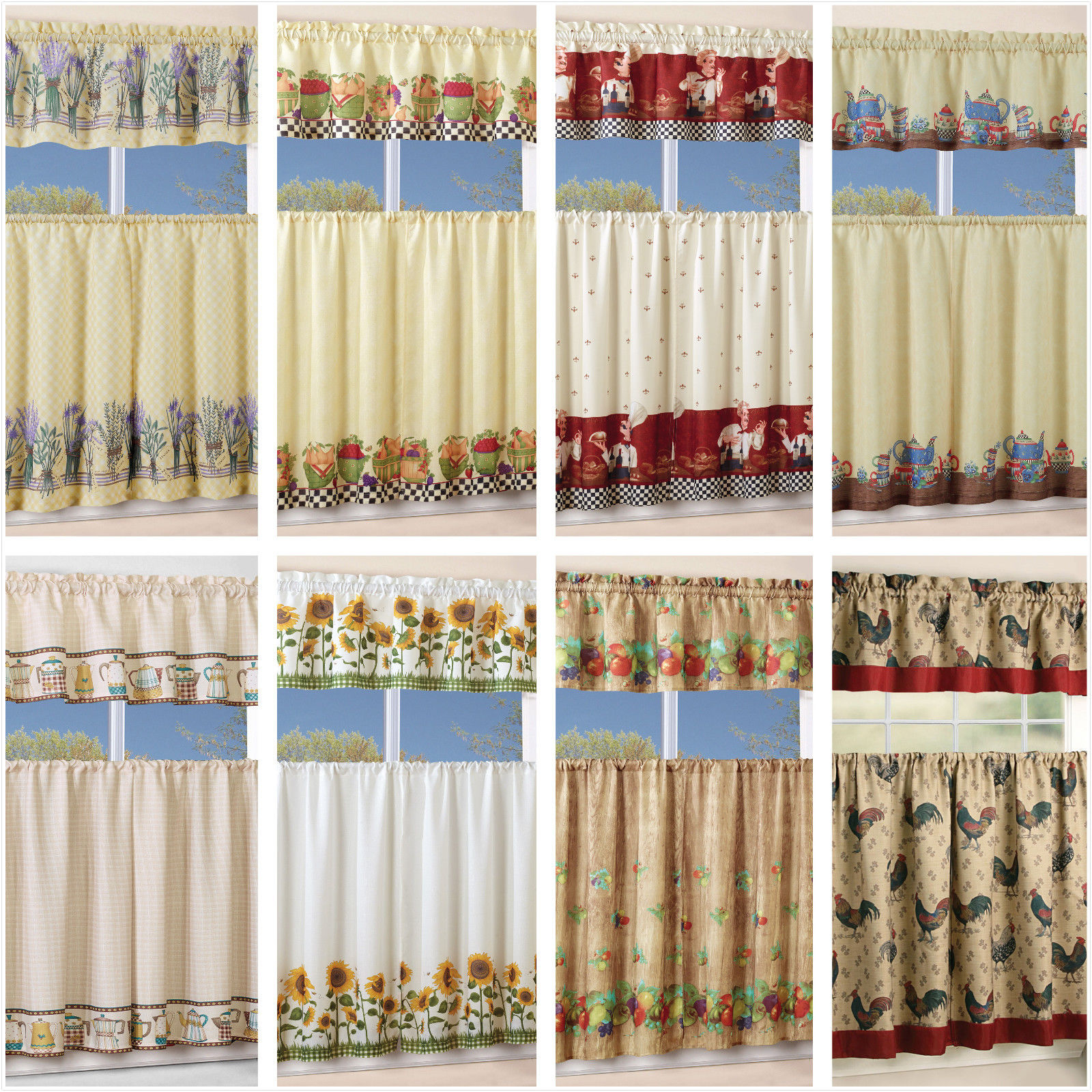 Chocolate 5 Piece Curtain Tier And Swag Sets Within Most Up To Date 3 Piece Kitchen Curtain With Swag And Tier Window Treatment Set Chef  Sunflower (View 10 of 20)