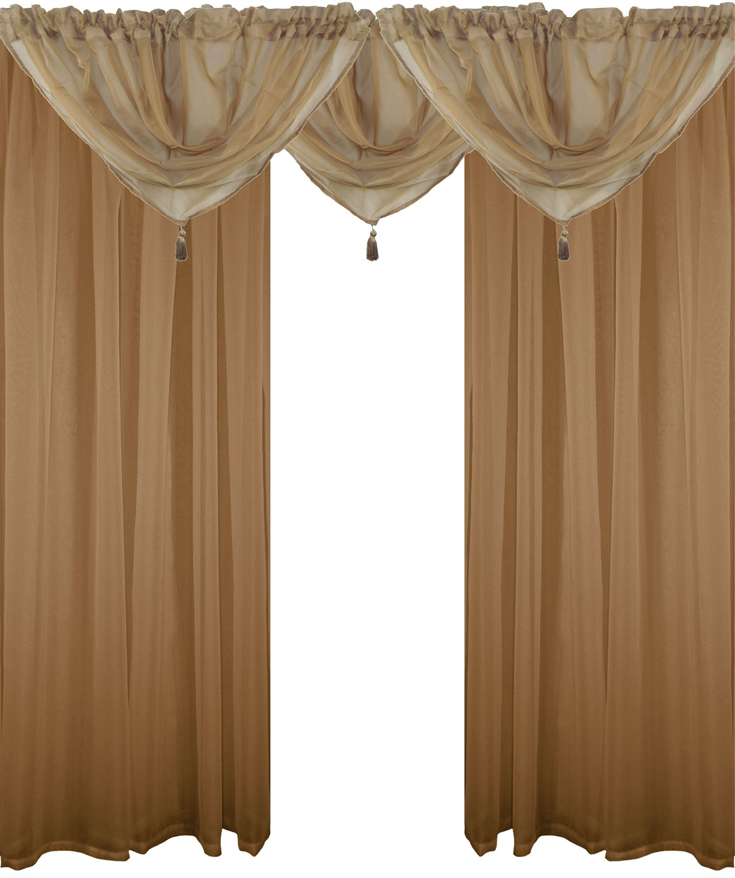Chocolate 5 Piece Curtain Tier And Swag Sets Within Well Known Details About Coffee Beige 5 Piece Voile Set Rod Pocket Curtains Drapes &  Swags – 4 Sizes (View 11 of 20)