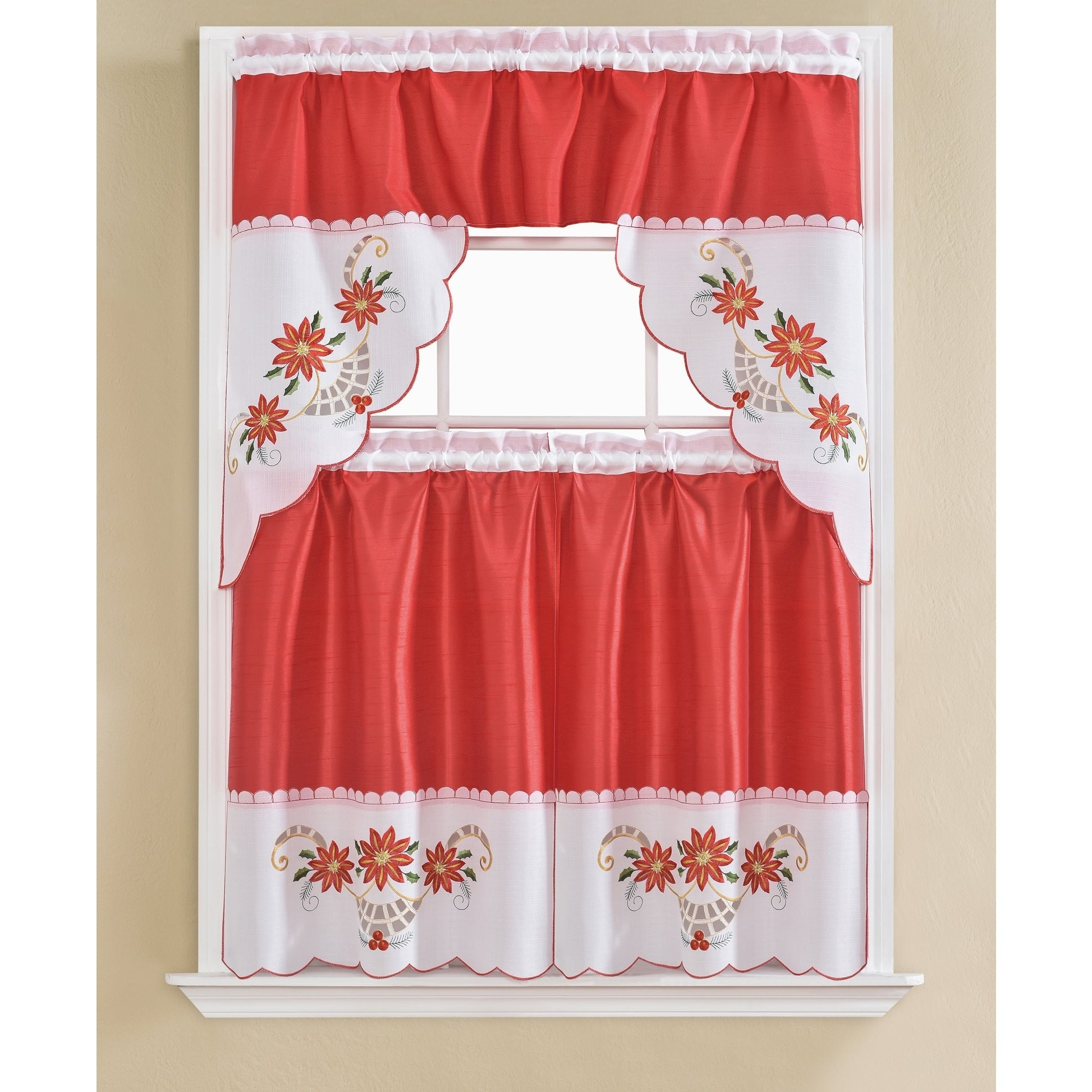 Christmas Poinsettia Embroidered Tier And Swag Kitchen Curtain Set – 60 X  36 In (View 5 of 20)