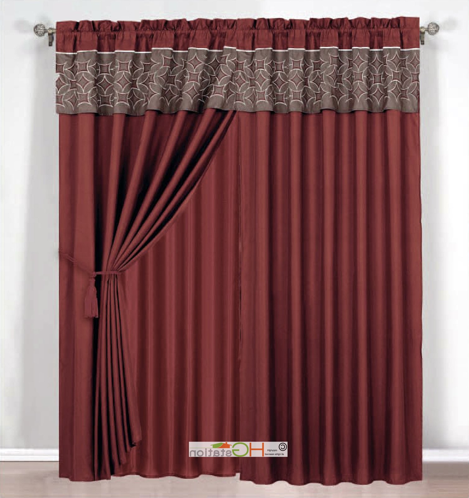 Circle Curtain Valances In Most Up To Date Details About 4 Pc Embroidered Medallion Circle Curtain Set Rust Coffee  Valance Drape Liner (View 4 of 20)