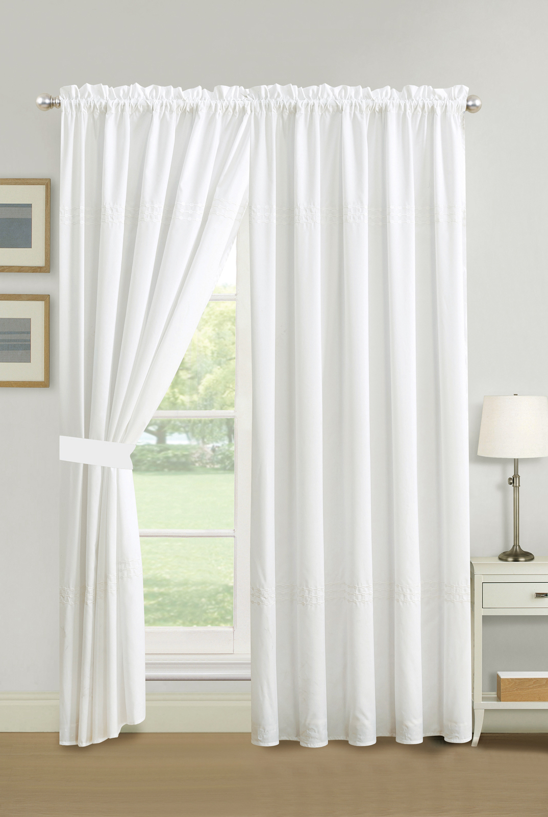 Circle Curtain Valances With Regard To Fashionable Details About 4 Pc Cedar Line Connected Dot Circle Embroidery Curtain Set  White Sheer Liner (View 6 of 20)