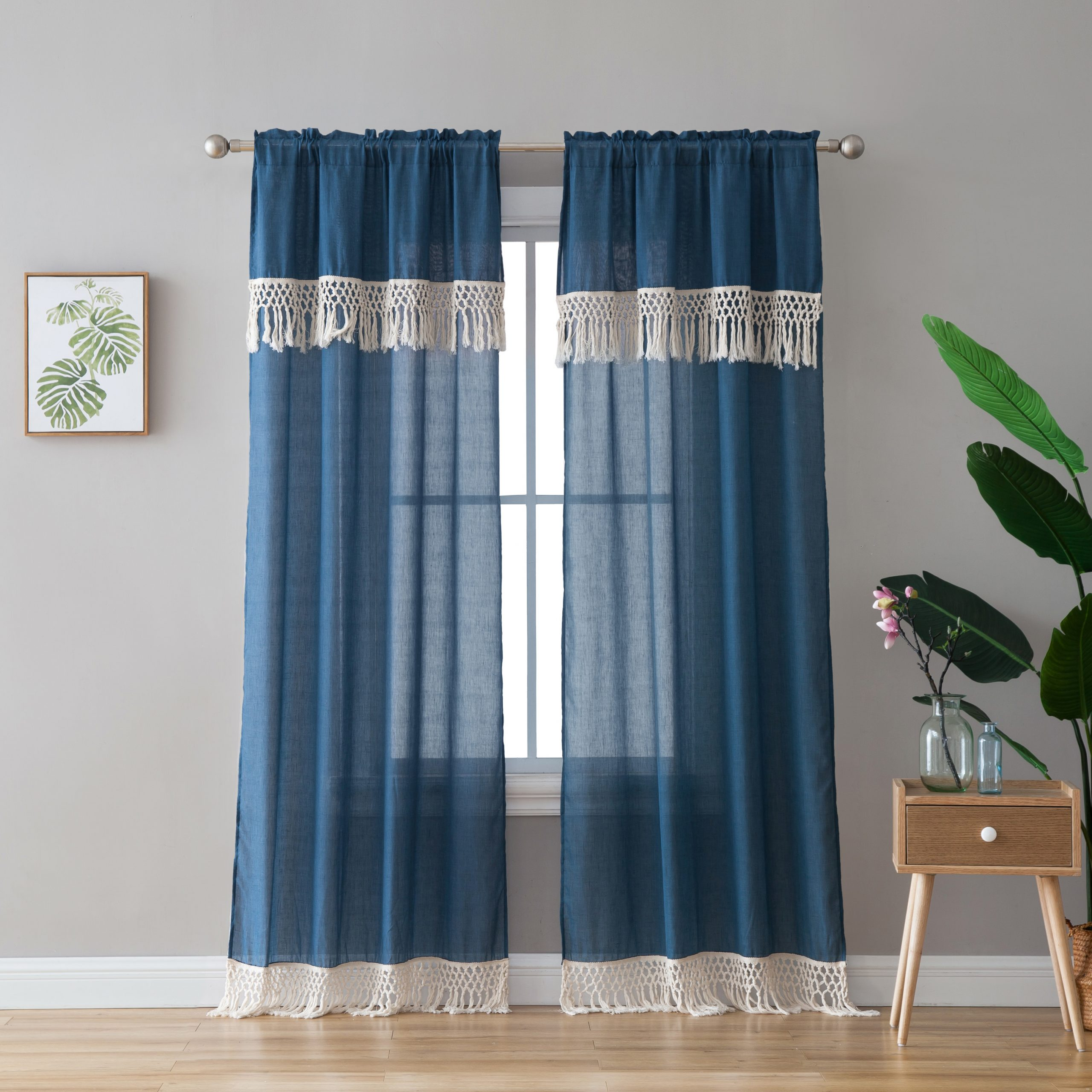 "Class Blue Cotton Blend Macrame Trimmed Decorative Window Curtains In Most Recently Released Peach & Oak, Lydia Single Window Panel – Blue With Fringe – 84"" (View 6 of 17)"