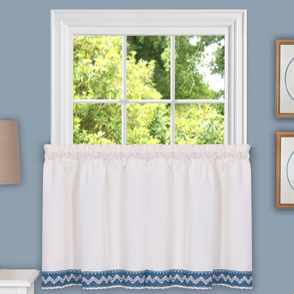 Class Blue Cotton Blend Macrame Trimmed Decorative Window Curtains Throughout Preferred Class Blue Cotton Blend Macrame Trimmed Decorative Window Curtain Separates, Tier Pair And Valance Options (View 3 of 17)