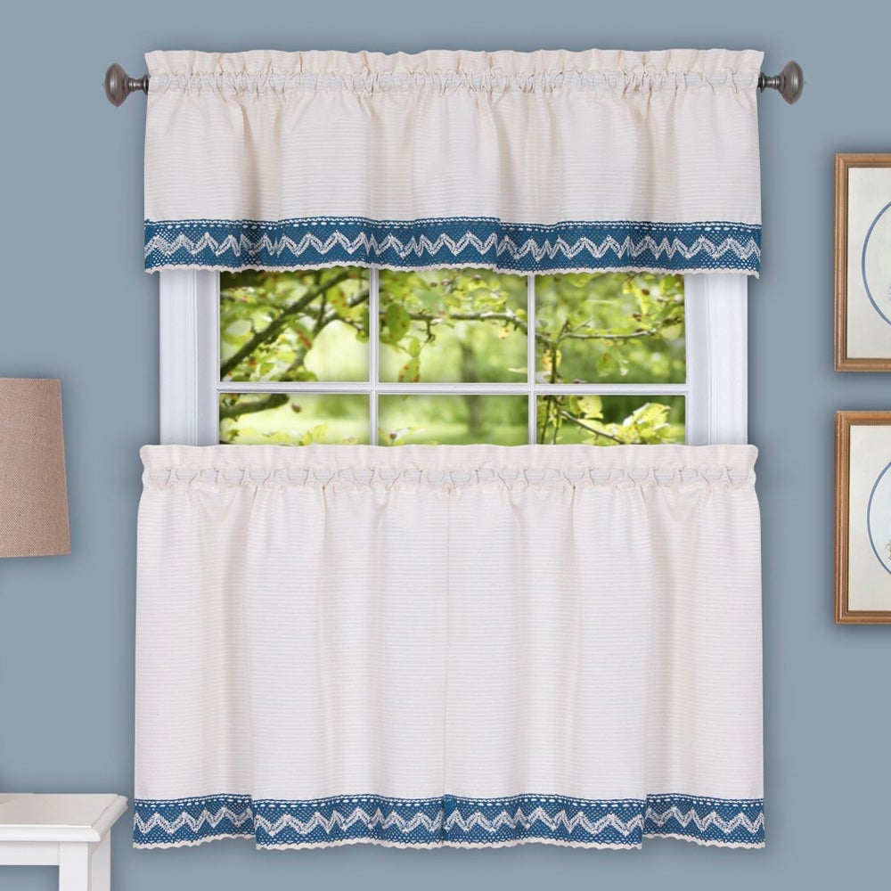 Featured Photo of Class Blue Cotton Blend Macrame Trimmed Decorative Window Curtains