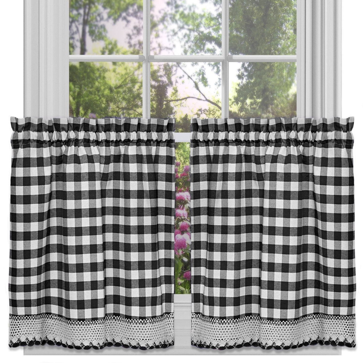 "Classic Black And White Curtain Tiers For 2020 Achim Home Furnishings Buffalo Check Window Curtain Tier Pair, 58"" X 24"", Black & White (View 13 of 20)"