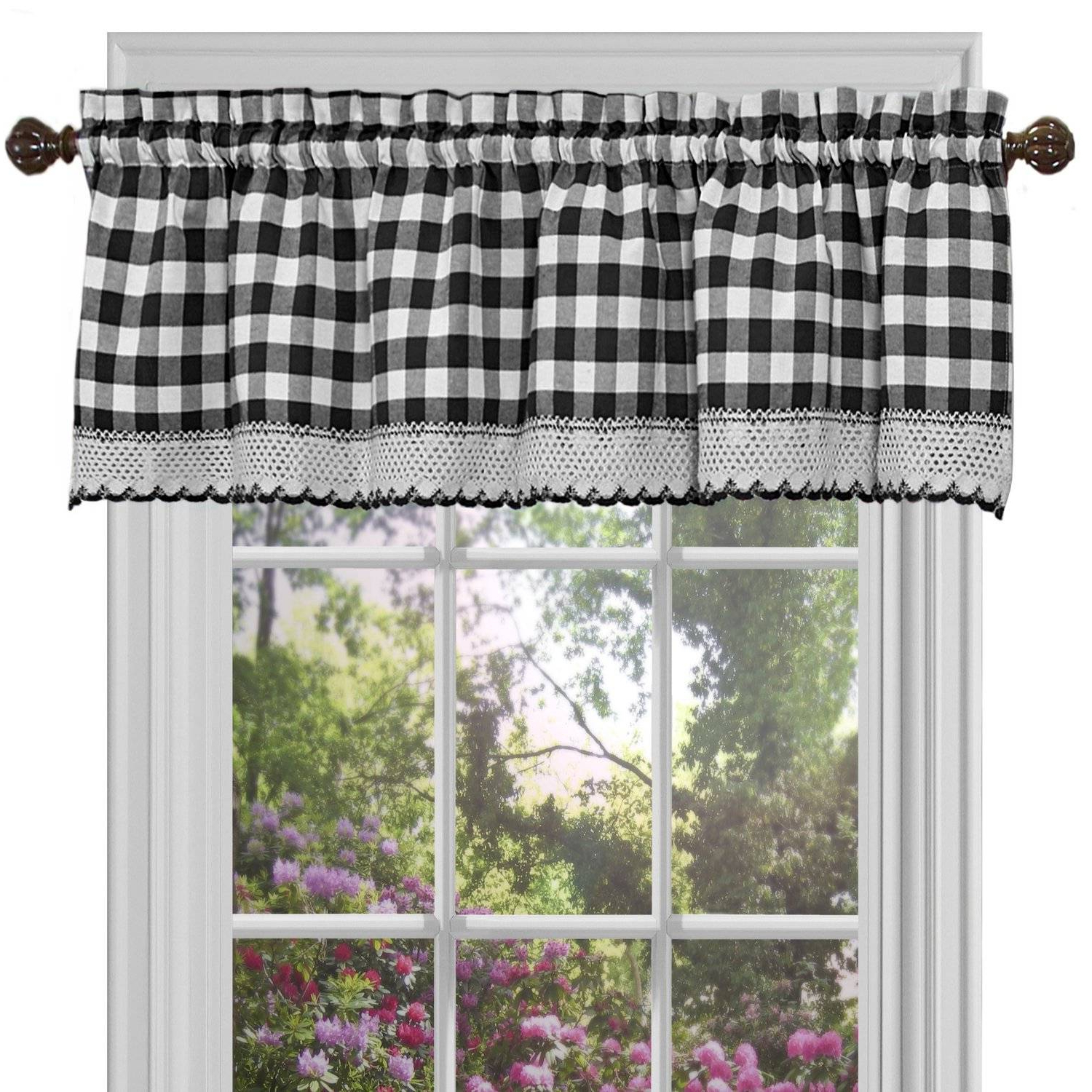 Classic Black And White Curtain Tiers Inside 2021 Alluring Black And White Checkered Kitchen Valance Valances (View 5 of 20)