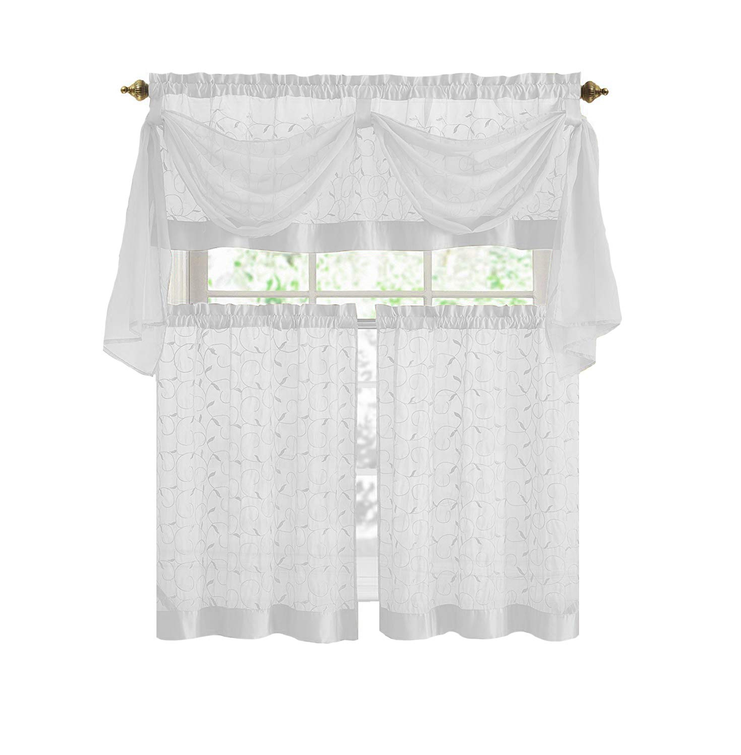 Classic Black And White Curtain Tiers Intended For Popular Victoria Classics Linen Leaf 4 Piece Kitchen Curtain Set (beige) (View 7 of 20)