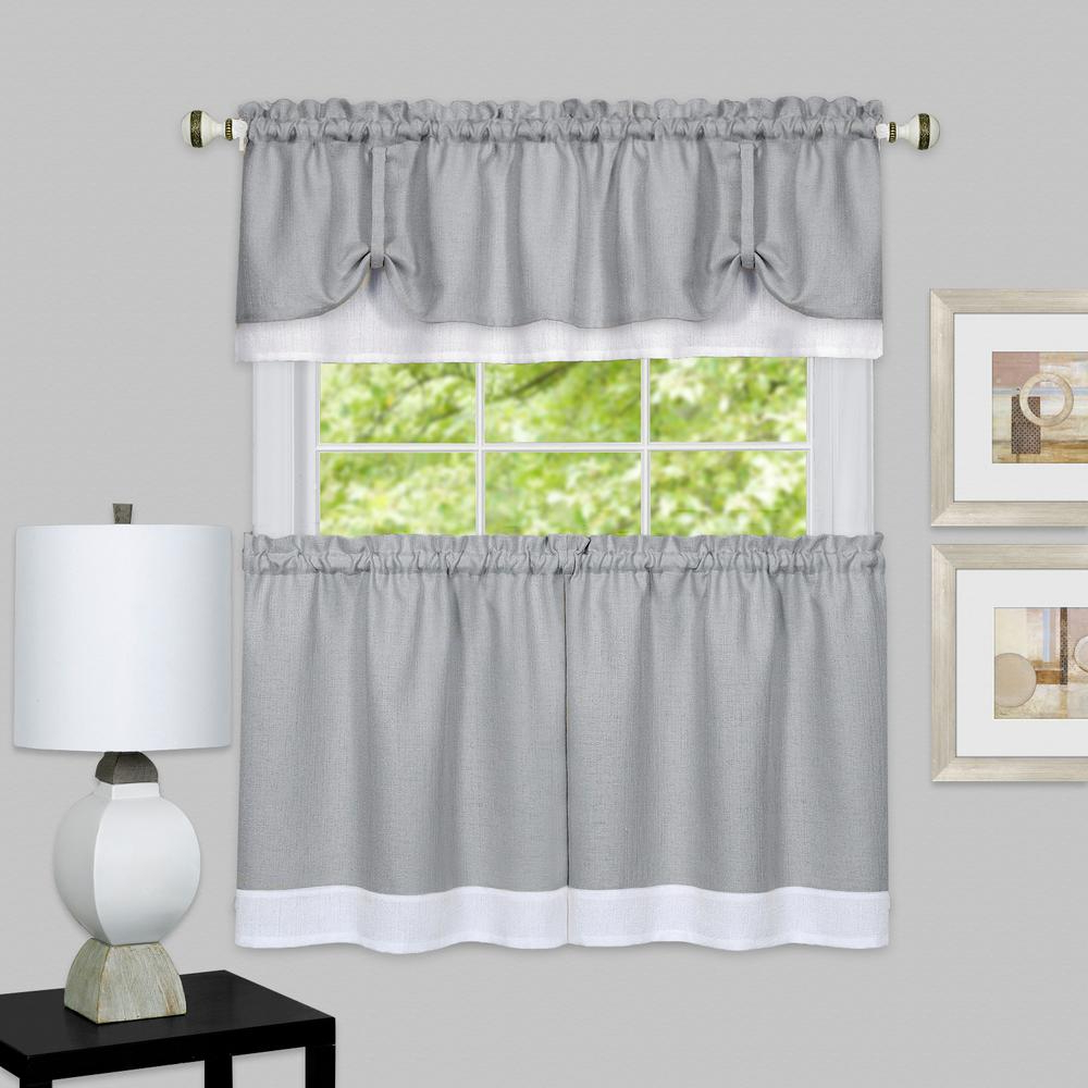 Classic Black And White Curtain Tiers With Regard To Favorite Achim Darcy Grey/white Polyester Tier And Valance Curtain Set 58 In. W X 24 In (View 12 of 20)