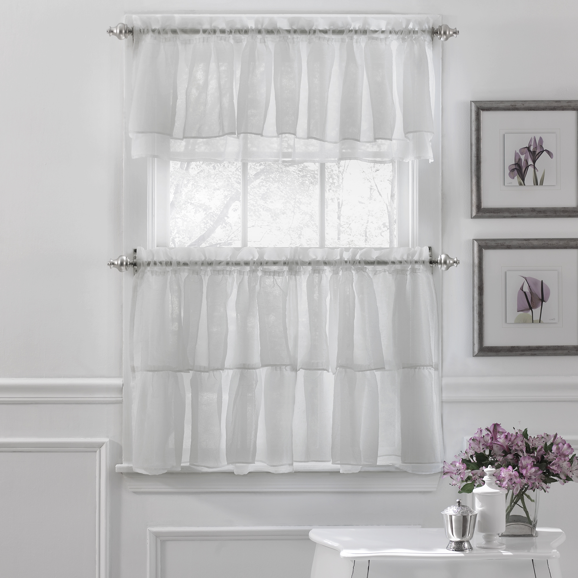 Classic Black And White Curtain Tiers Within Trendy Details About Gypsy Crushed Voile Ruffle Kitchen Window Curtain Tiers Or Valance White (View 11 of 20)