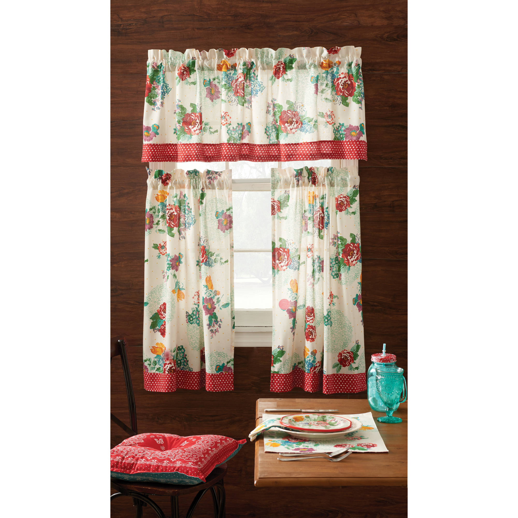Classic Kitchen Curtain Sets Pertaining To Preferred The Pioneer Woman Country Garden 3 Piece Kitchen Curtain Tier And Valance  Set – Walmart (View 9 of 20)