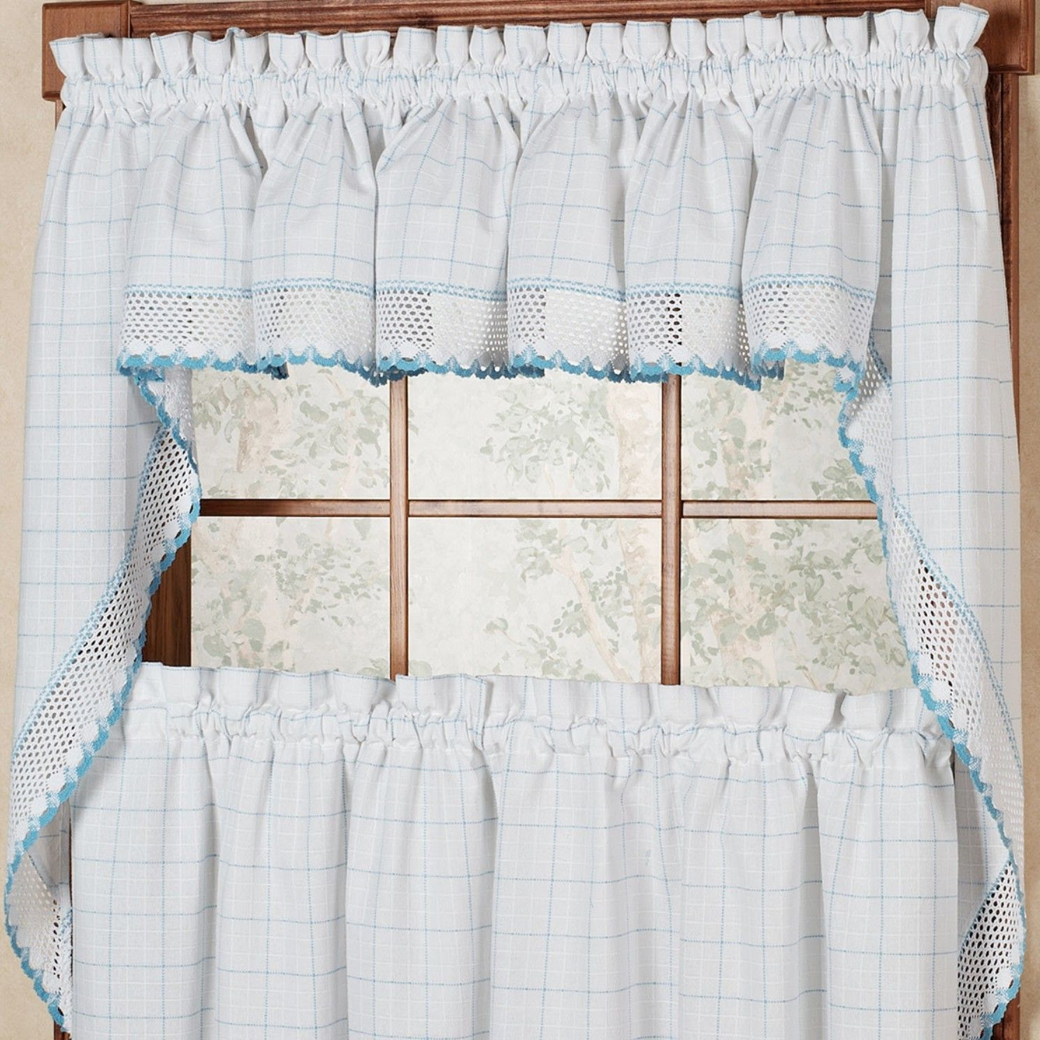 """Classic Kitchen Curtain Sets Throughout Popular Adirondack 38"""" Cotton Kitchen Window Swag Curtain Valance (View 20 of 20)"""