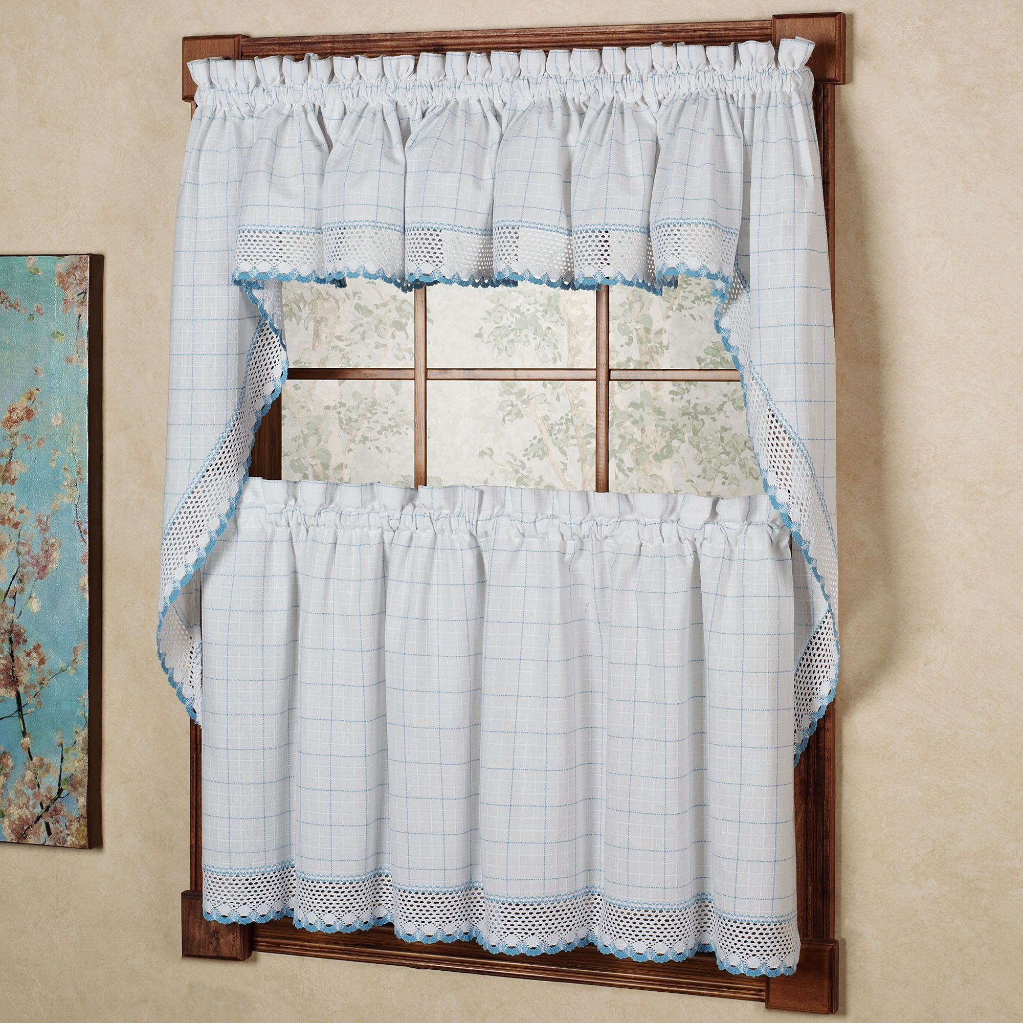Classic Kitchen Curtain Sets Within Latest N 100 Percent Cotton Classic White/ Blue Window Pane Pattern (View 12 of 20)