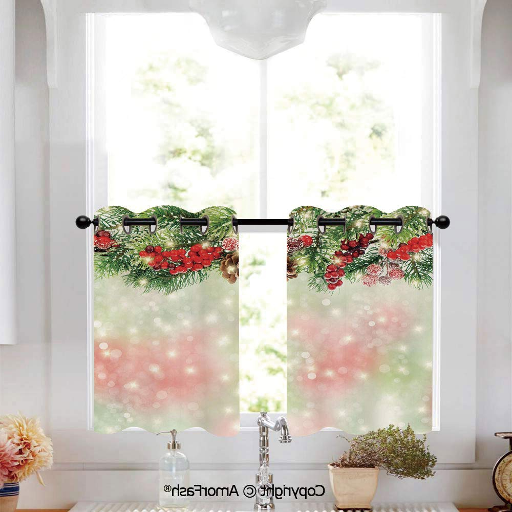 Classic Kitchen Curtain Sets Within Trendy Amazon: Putien Christmas Cafe Curtains Lattice Kitchen (View 13 of 20)