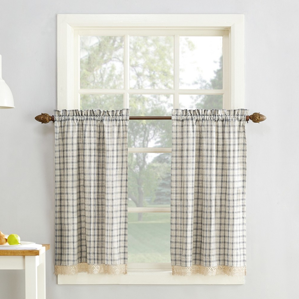 """Classic Navy Cotton Blend Buffalo Check Kitchen Curtain Sets For Widely Used Maisie Plaid Kitchen Curtain Swag Pair Gray 54""""x38"""" – No (View 9 of 20)"""