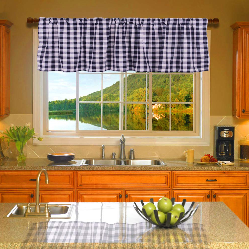 Classic Navy Cotton Blend Buffalo Check Kitchen Curtain Sets Inside Most Popular Htfd Buffalo Check Valance Farmhouse Classic Country Curtains Buffalo Check Lined Valance, 53 L X 16 W, Dark Navy And White, Pack Of (View 19 of 20)