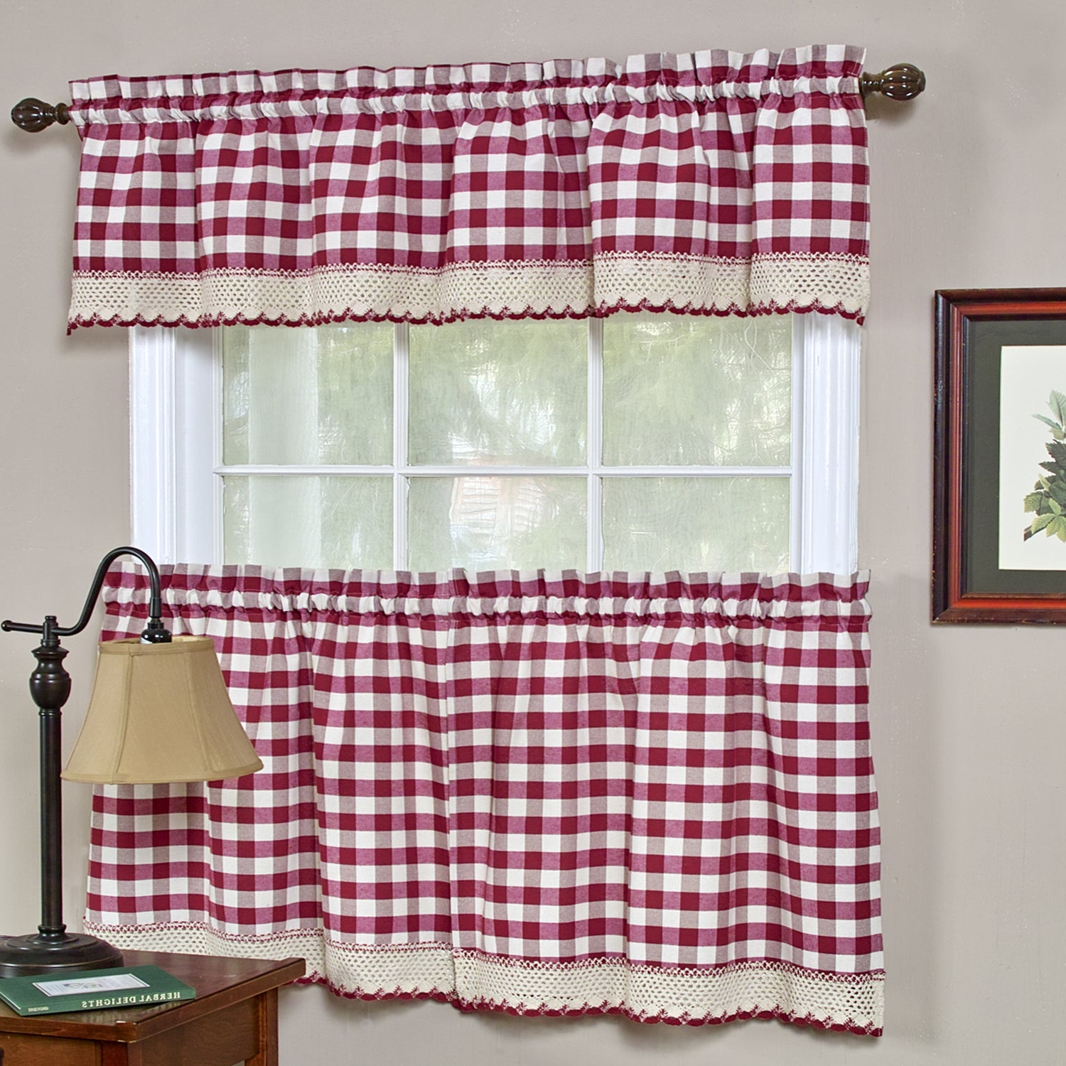 Classic Navy Cotton Blend Buffalo Check Kitchen Curtain Sets Inside Trendy Classic Buffalo Check Kitchen Burgundy/white Curtain Set Or Separates (View 4 of 20)