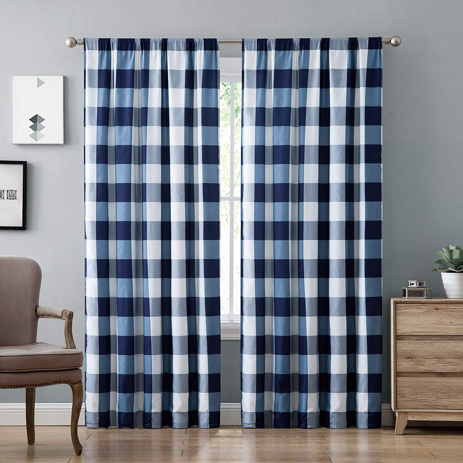 Classic Navy Cotton Blend Buffalo Check Kitchen Curtain Sets Pertaining To Latest Amazon: Misc 2 Piece Navy Buffalo Plaid Curtains, (View 10 of 20)