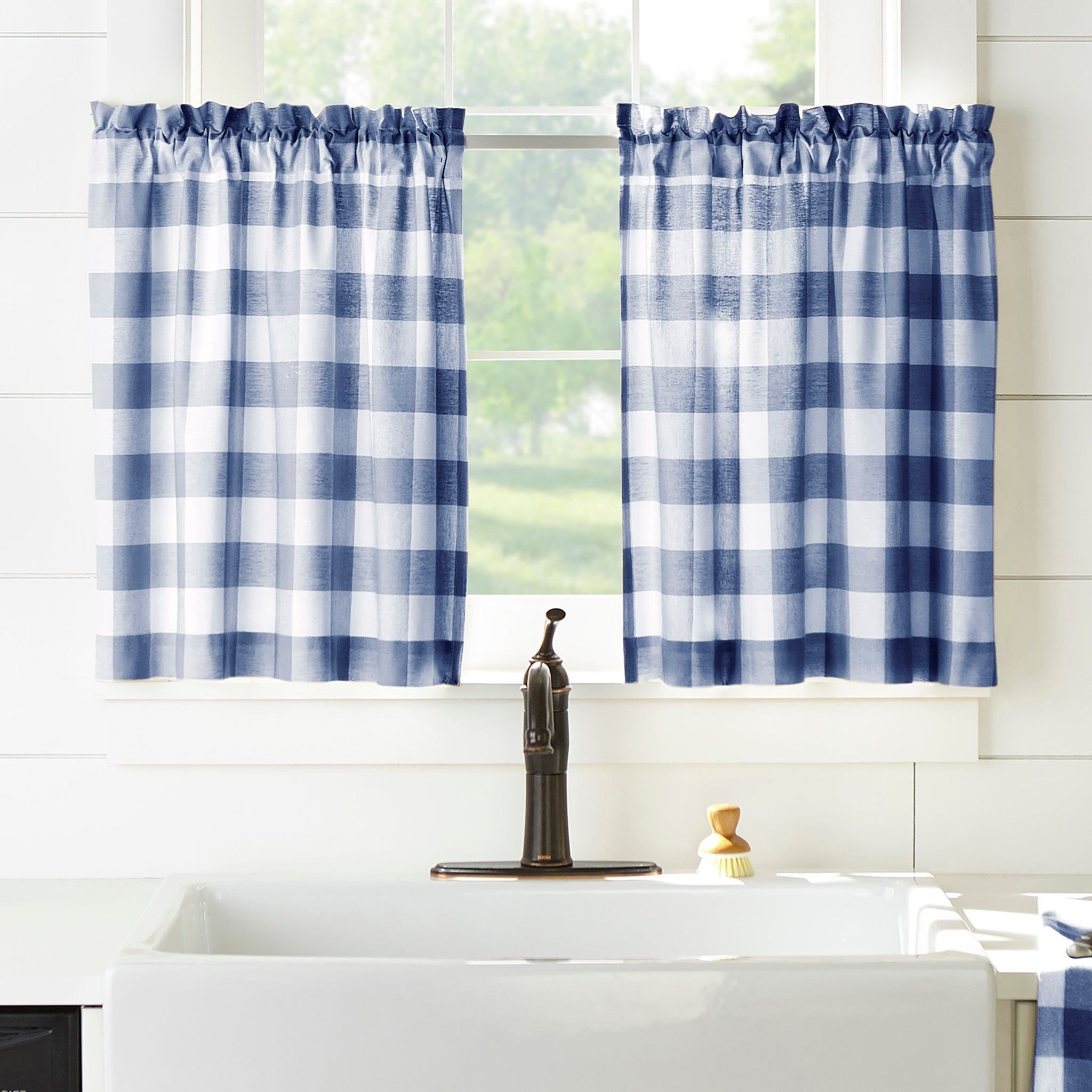 Classic Navy Cotton Blend Buffalo Check Kitchen Curtain Sets With Regard To Popular The Gray Barn Emily Gulch Buffalo Check Kitchen Window Tier Set (View 13 of 20)